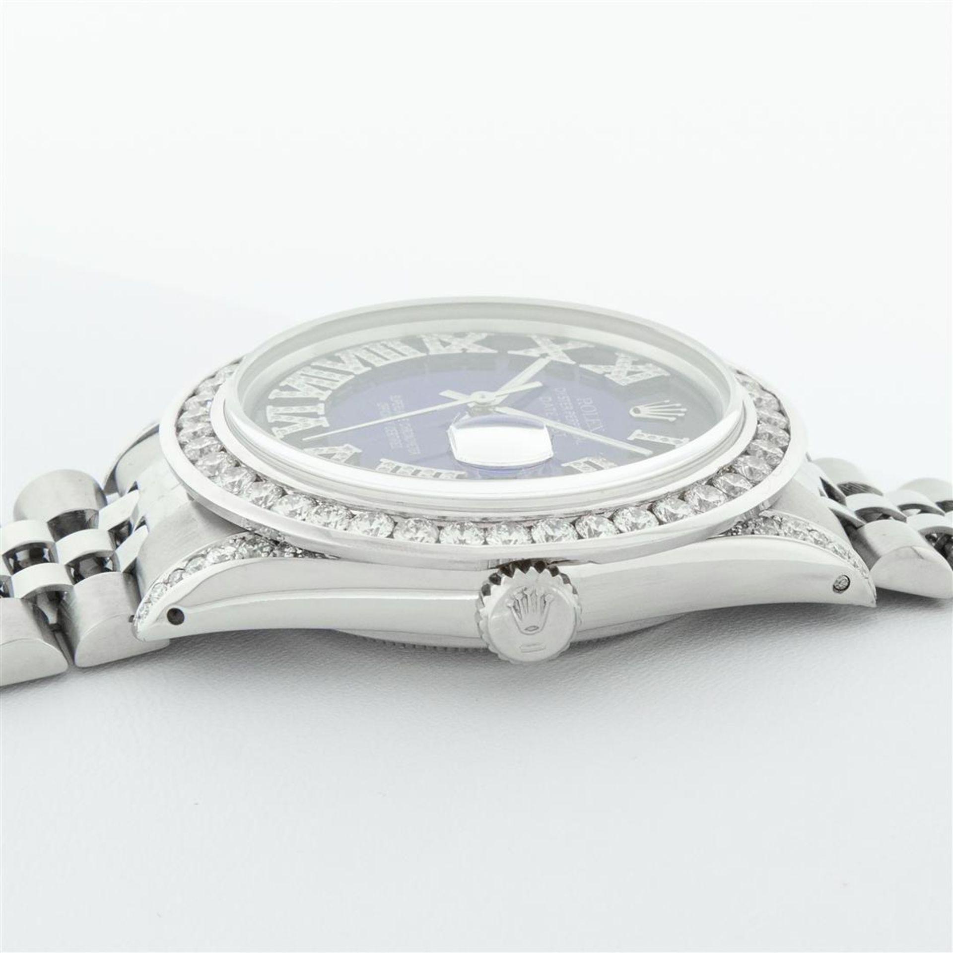 Rolex Mens Stainless Steel Blue Vignette Roman 3ctw Diamond Datejust Wristwatch - Image 5 of 9