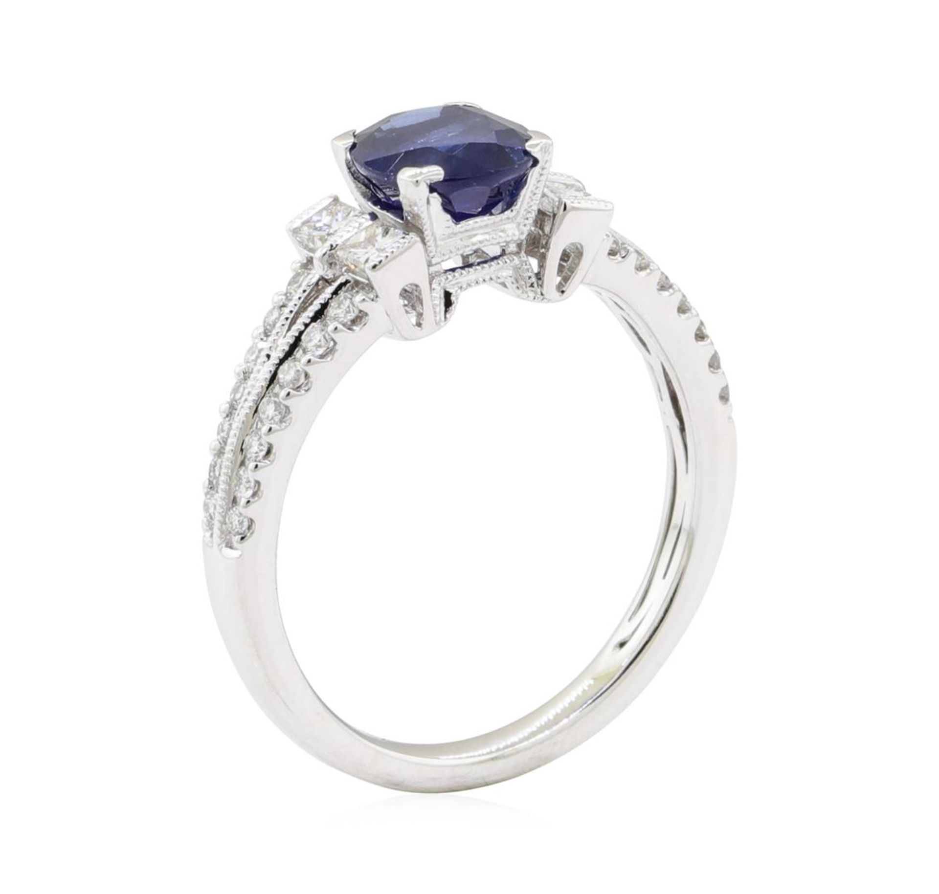 1.98 ctw Sapphire and Diamond Ring - 18KT White Gold - Image 4 of 5