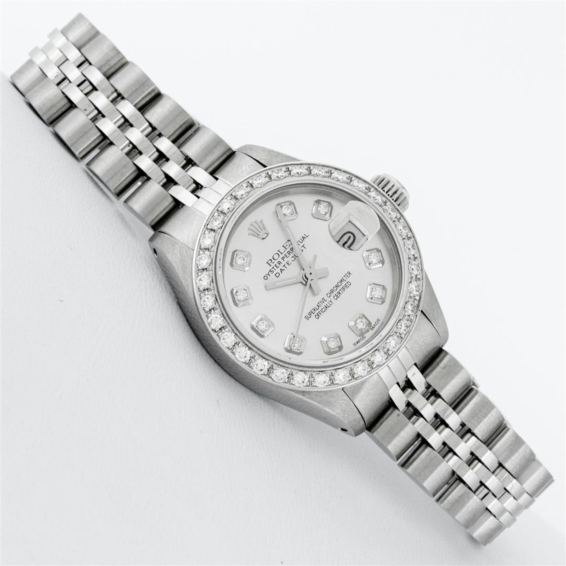 Rolex Ladies Stainless Steel Silver Diamond 26MM Oyster Perpetual Datejust - Image 3 of 9