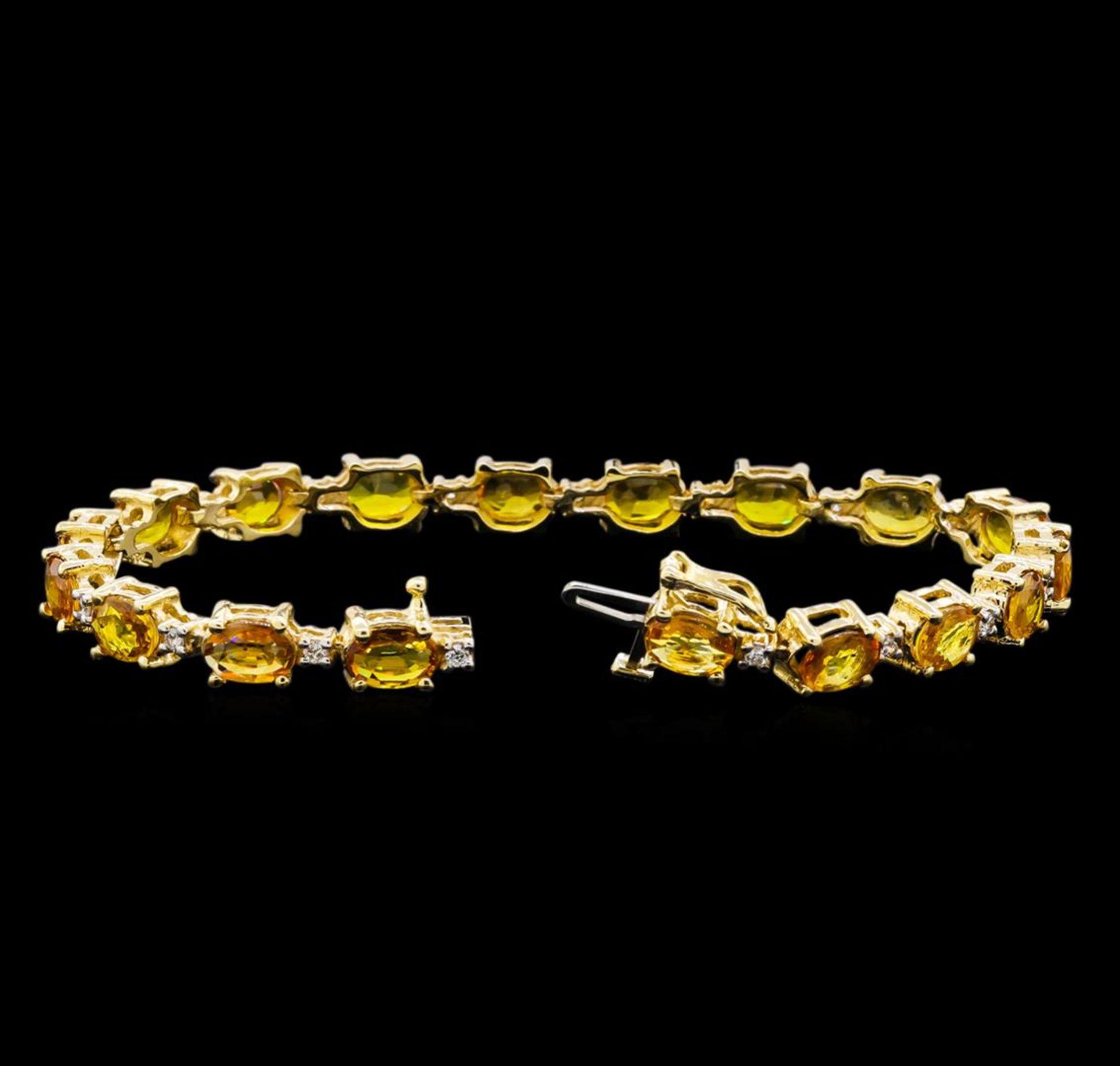 15.57 ctw Yellow Sapphire and Diamond Bracelet - 14KT Yellow Gold - Image 3 of 4