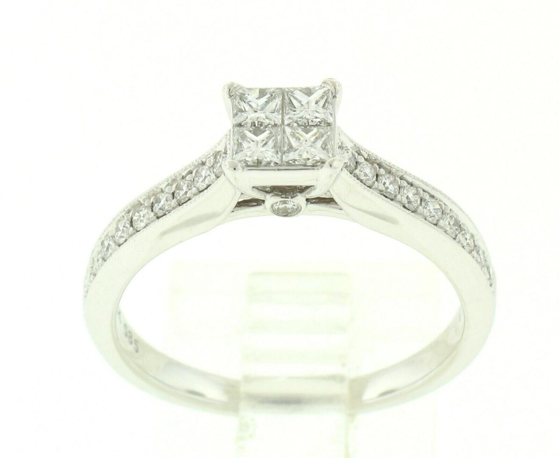 14k White Gold 0.79ctw Illusion Solitaire Princess Cut Diamond Engagement Ring - Image 7 of 8