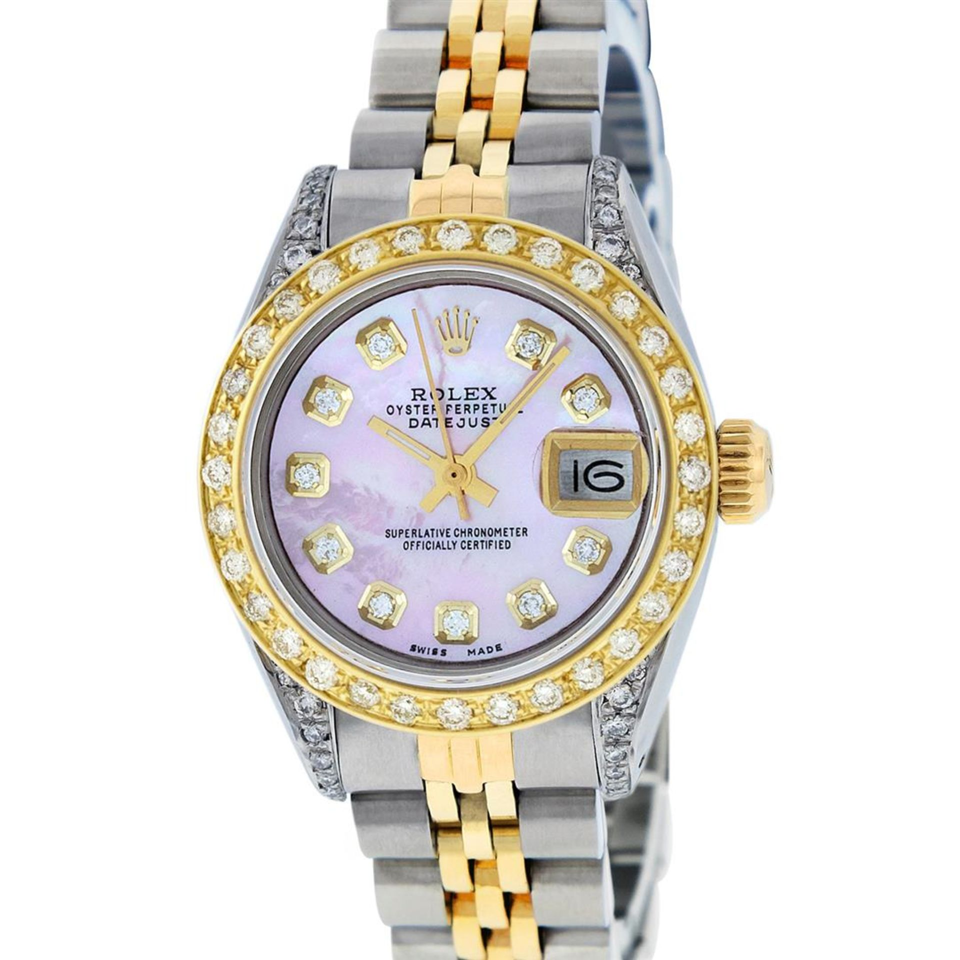 Rolex Ladies 26 Yellow Gold And Stainless Steel Pink MOP Lugs Oyster Perpetual D - Image 2 of 7