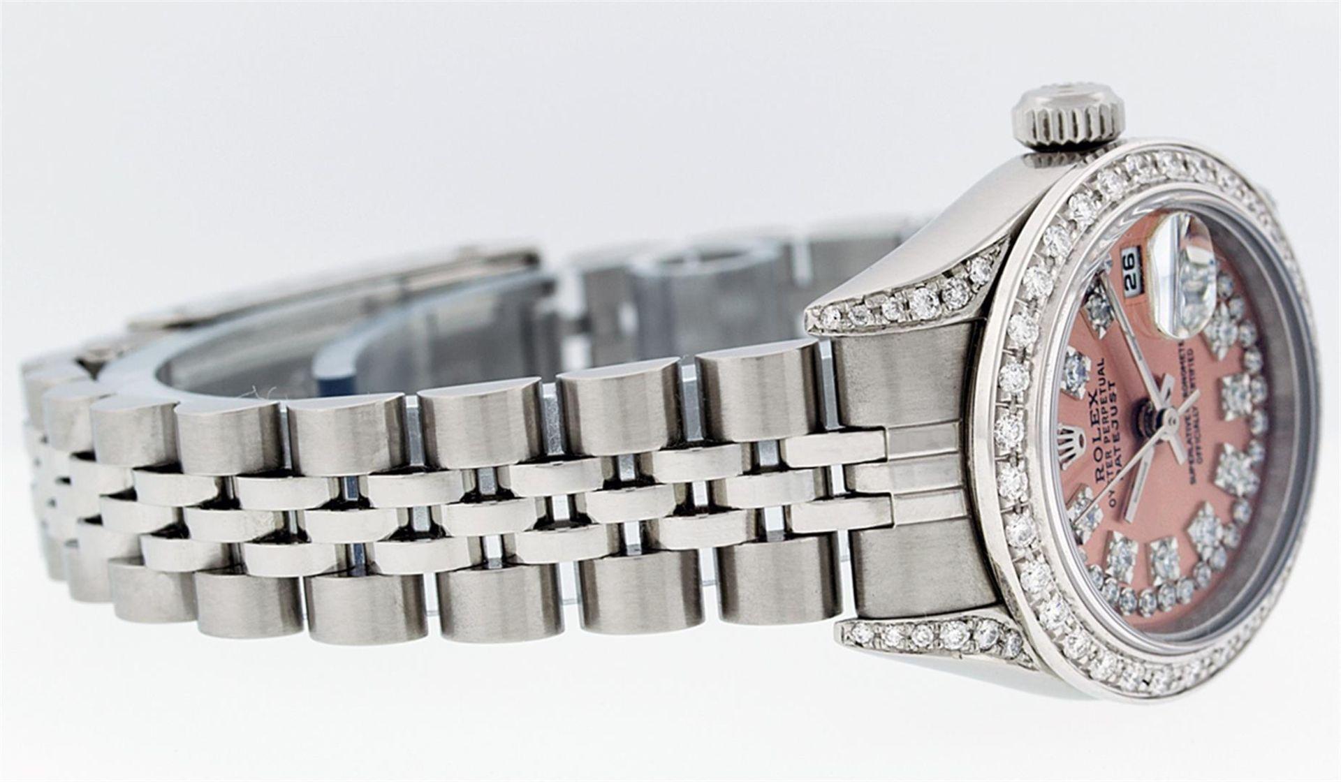 Rolex Ladies Stainless Steel Quickset Salmon Diamond Lugs Jubilee Datejust Wrist - Image 3 of 9