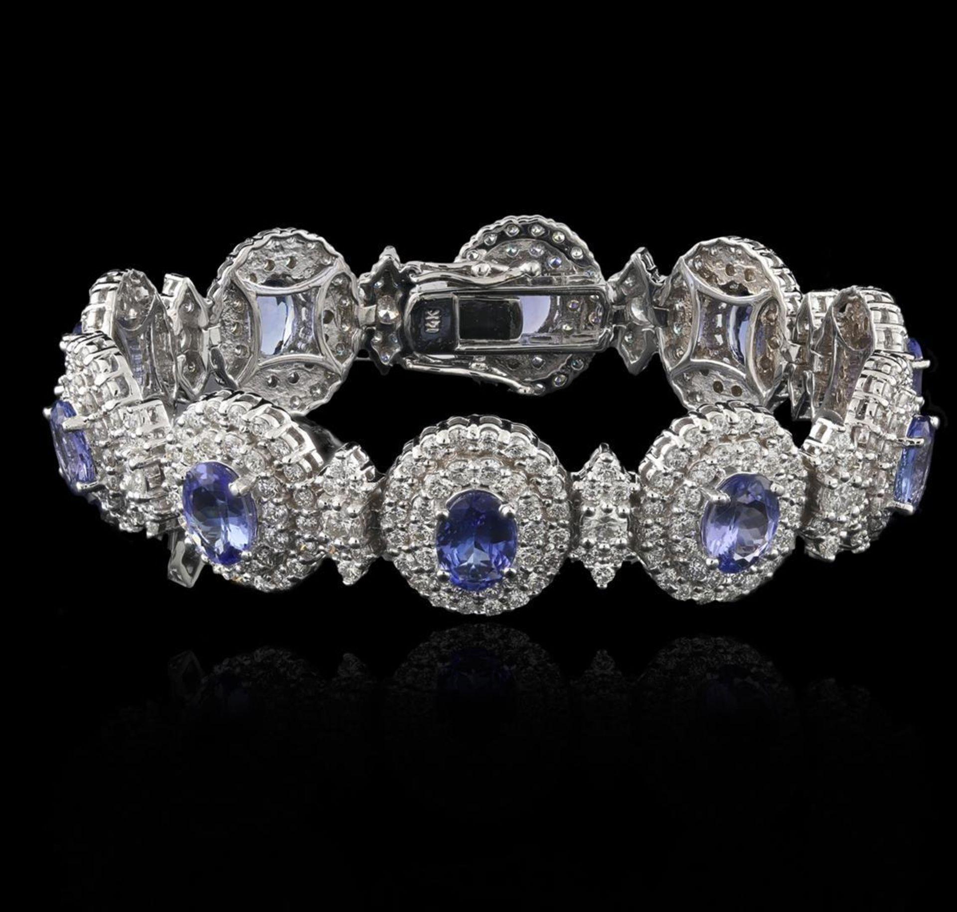 14KT White Gold 11.11ctw Tanzanite and Diamond Bracelet