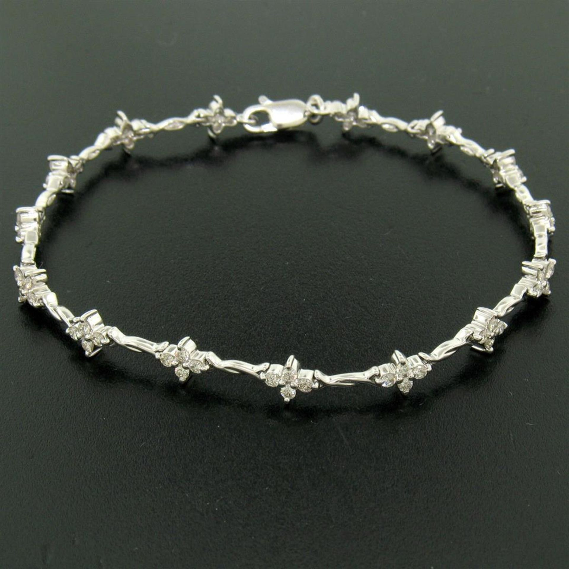 18K White Gold 1.65ctw Diamond Flower Cluster Twisted Wire Link Tennis Bracelet - Image 4 of 6