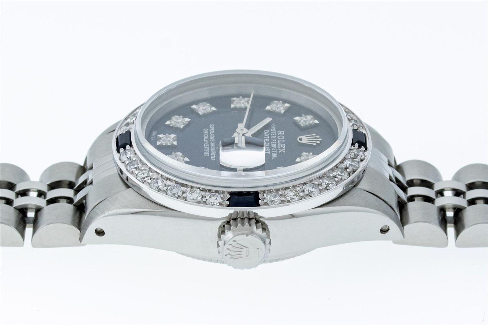 Rolex Ladies Stainless Steel Blue VVS Diamond & Sapphire Datejust Wristwatch - Image 7 of 9