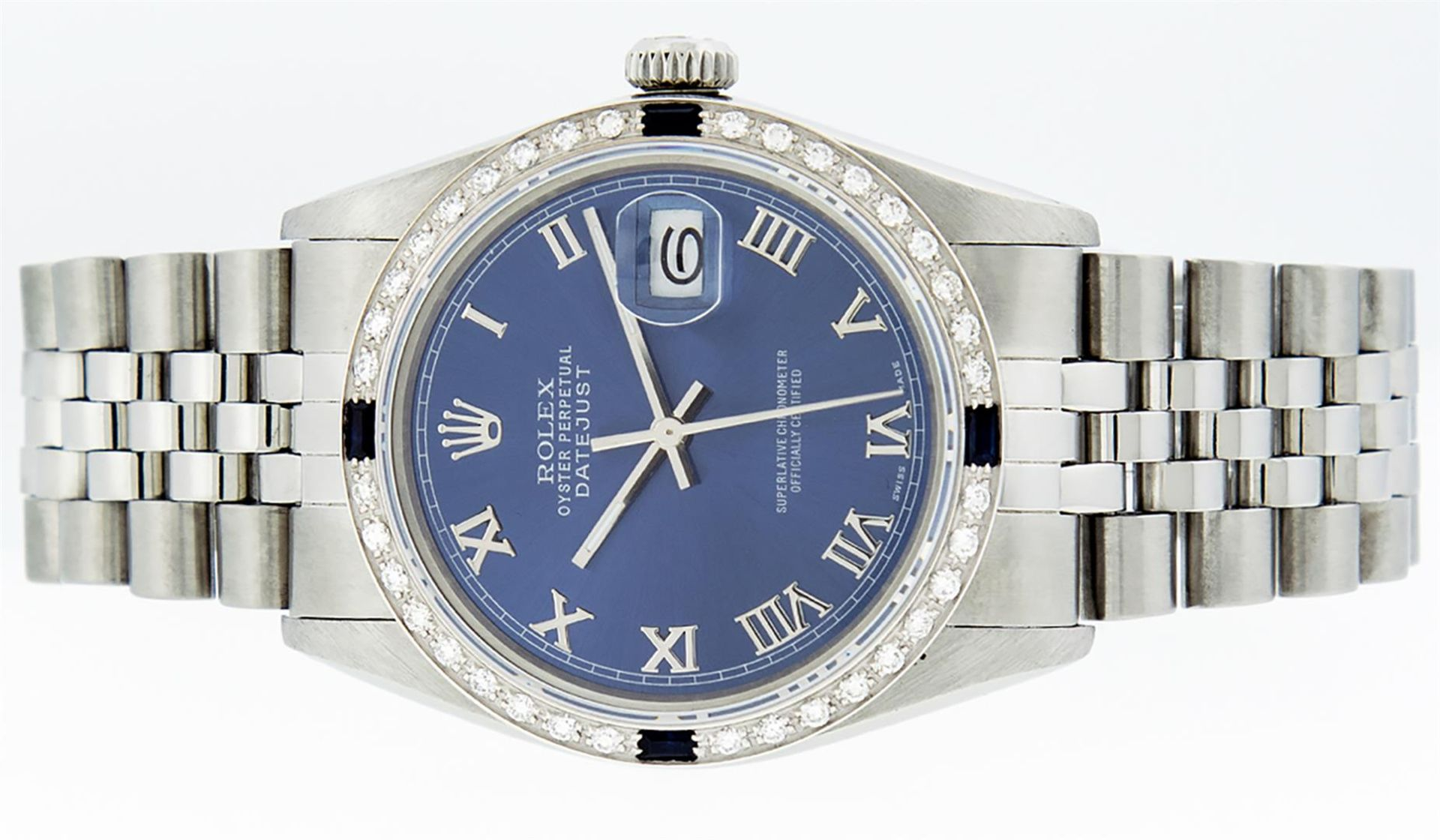 Rolex Mens Stainless Steel Blue Roman Diamond & Sapphire 36MM Oyster Perpetual D - Image 4 of 9