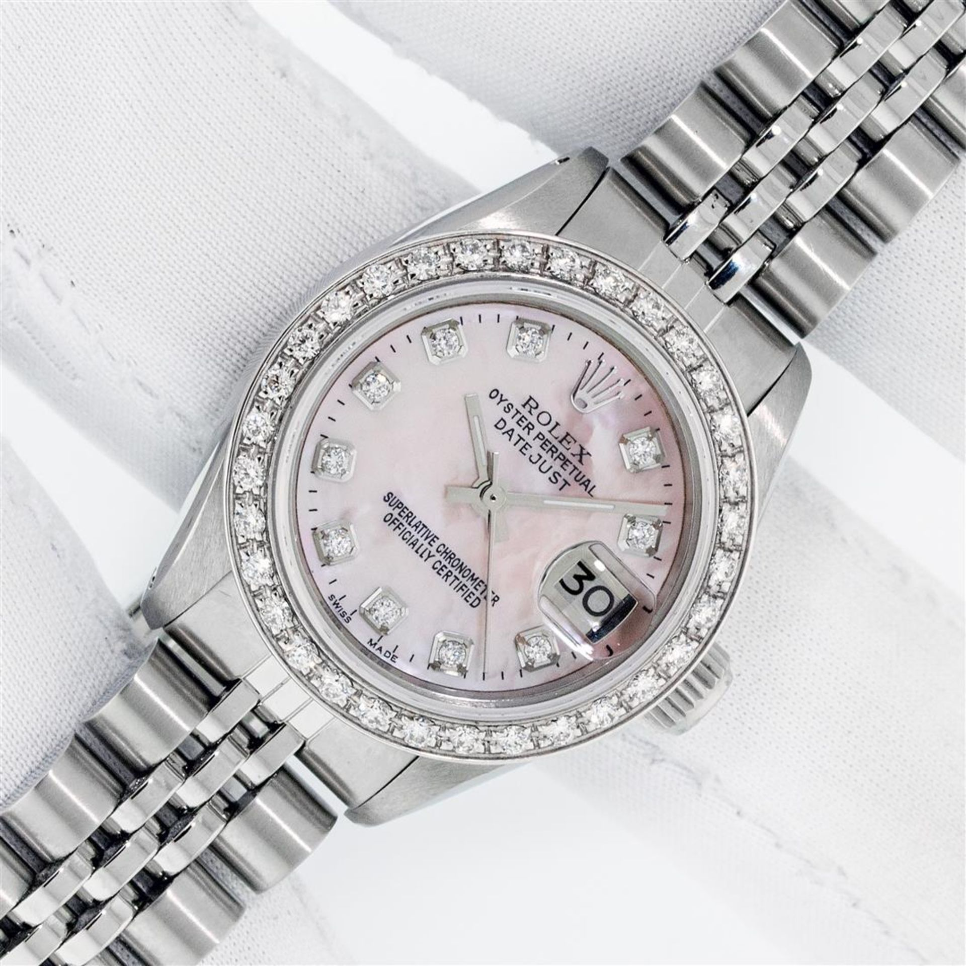 Rolex Ladies Stainless Steel Pink MOP Diamond 26MM Oyster Perpetaul Datejust Wit - Image 2 of 9