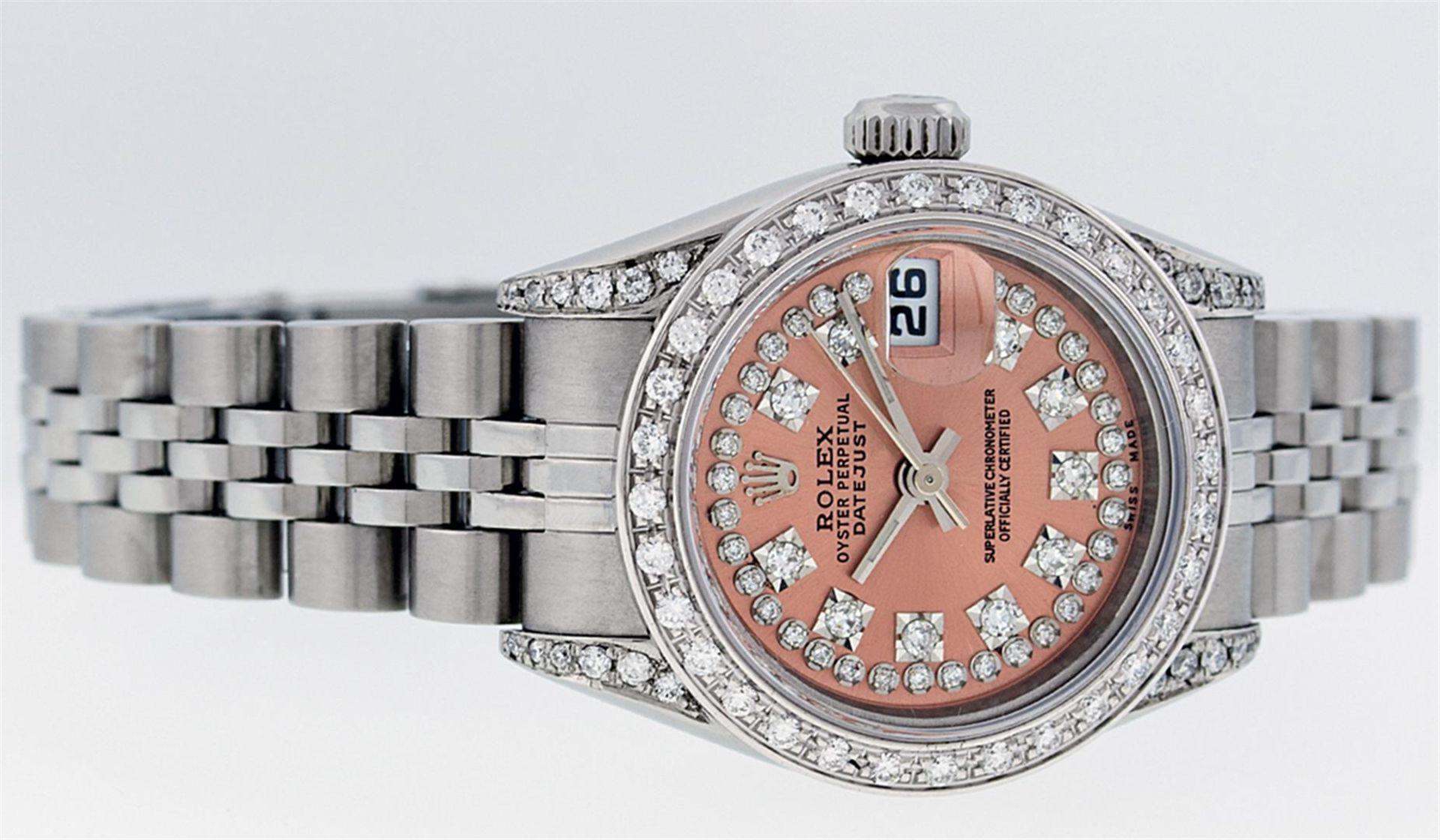 Rolex Ladies Stainless Steel Quickset Salmon Diamond Lugs Jubilee Datejust Wrist - Image 2 of 9