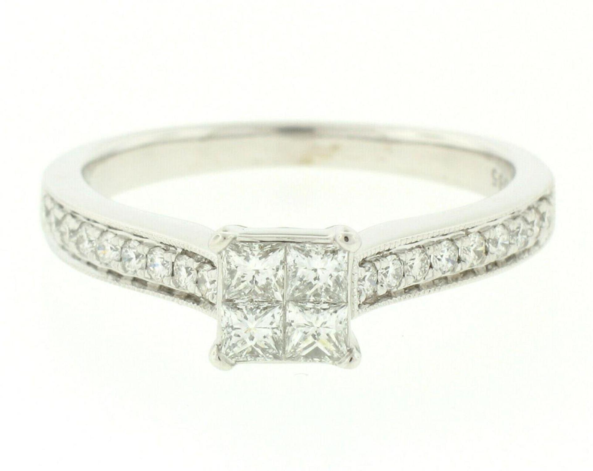 14k White Gold 0.79ctw Illusion Solitaire Princess Cut Diamond Engagement Ring