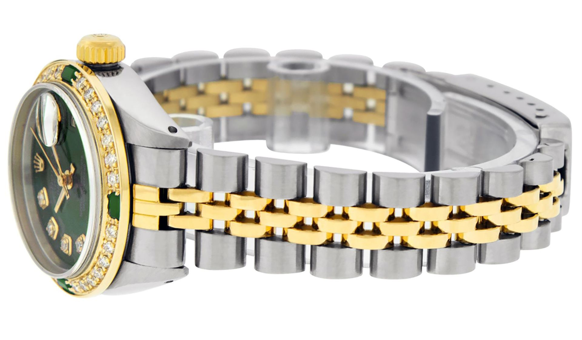 Rolex Ladies 2 Tone Green Diamond & Emerald Datejust Wristwatch - Image 9 of 9