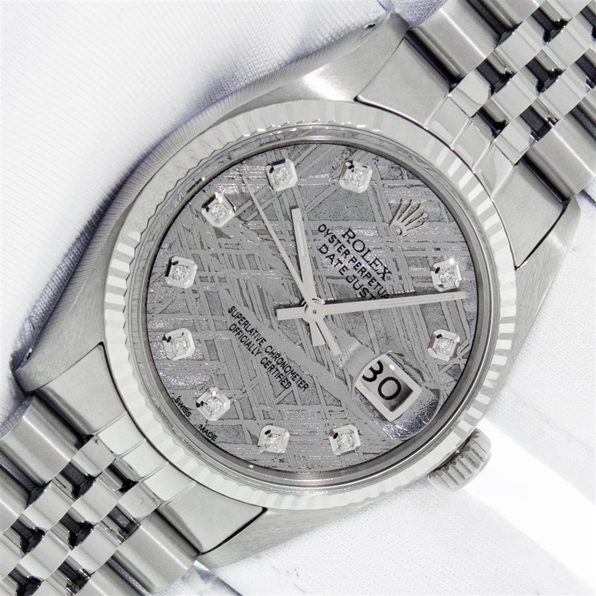 Rolex Mens Stainless Steel Meteorite Diamond 36MM Oyster Perpetual Datejust Wris