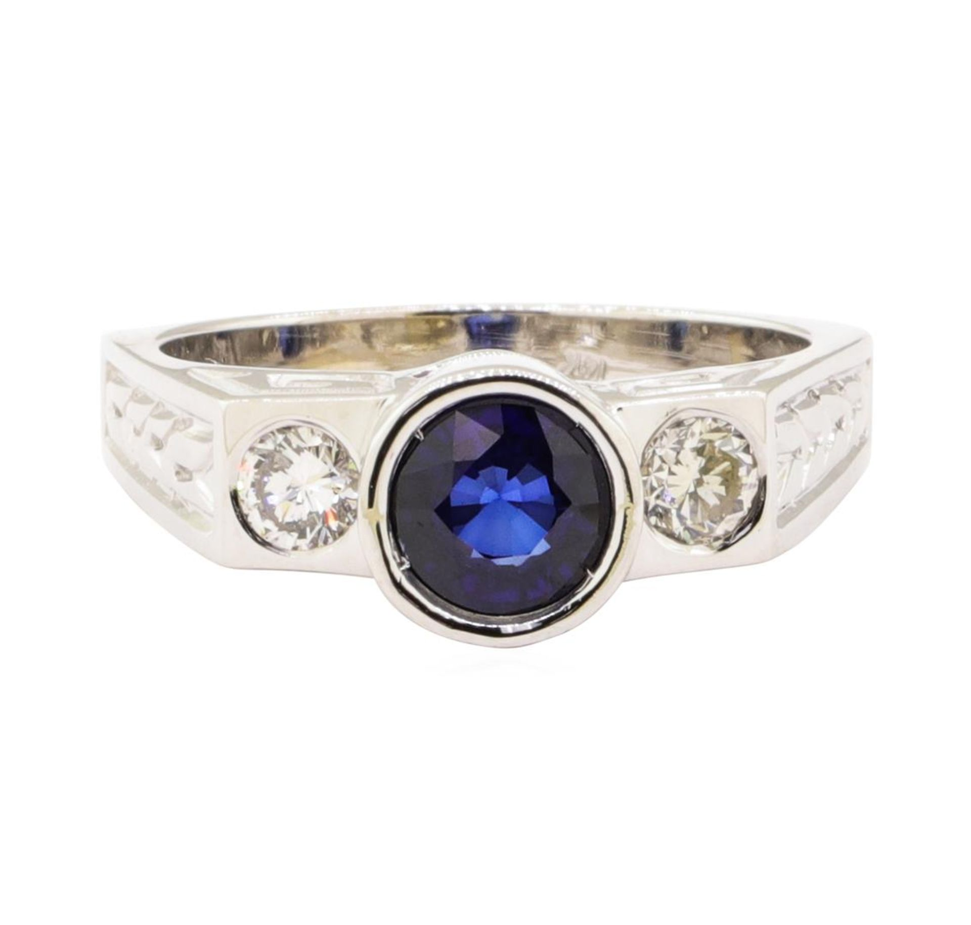 1.60 ctw Blue Sapphire And Diamond Ring - 14KT White Gold - Image 2 of 5