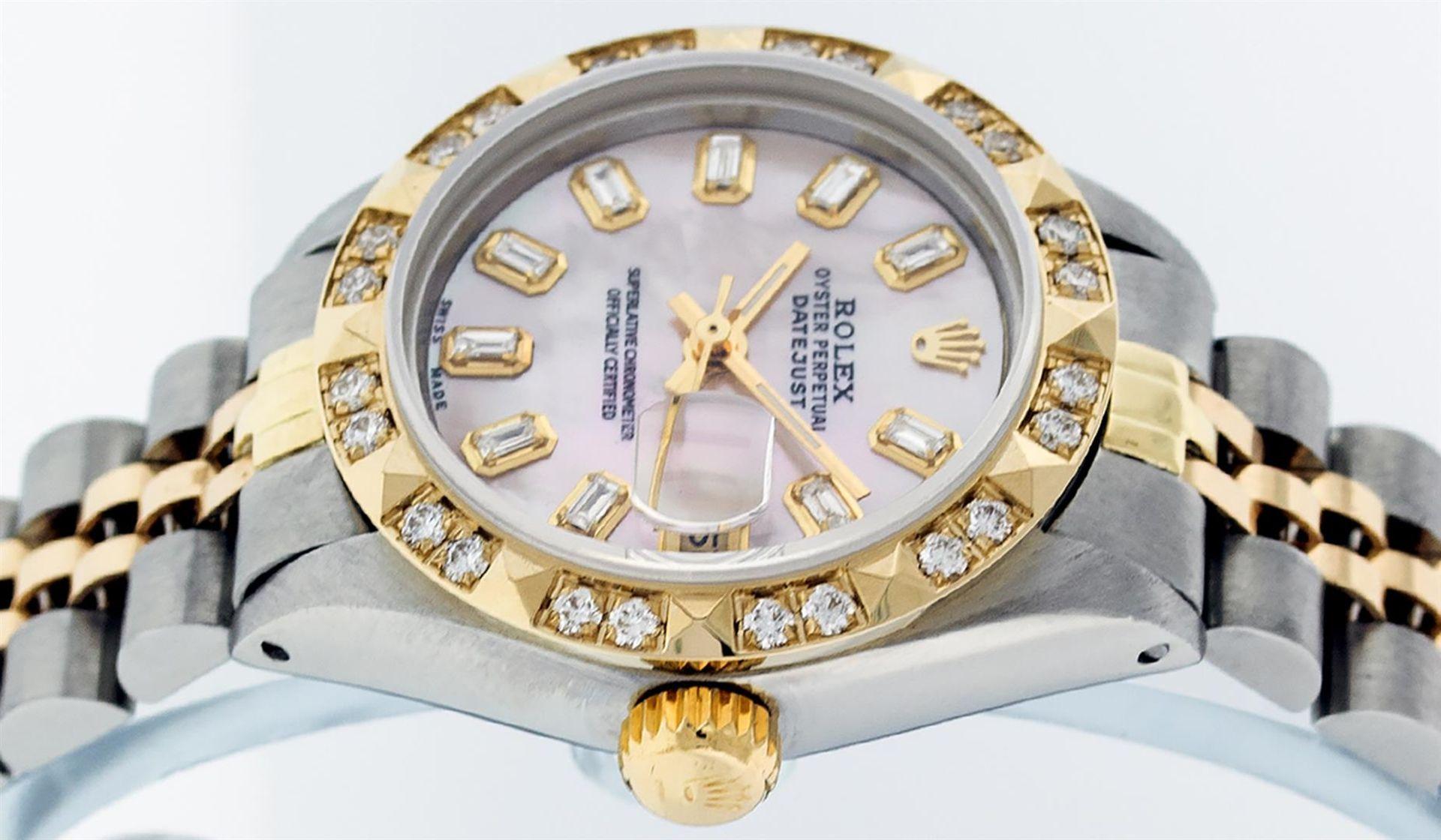 Rolex Ladies 26 2T Pink MOP Baguette 18K YG Diamond Bezel Serviced And Polished - Image 5 of 9