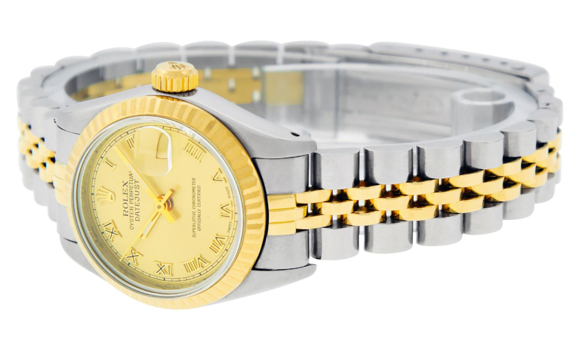Rolex Ladies 2 Tone Factory Champagne Roman Fluted Datejust Wristwatch - Image 5 of 9