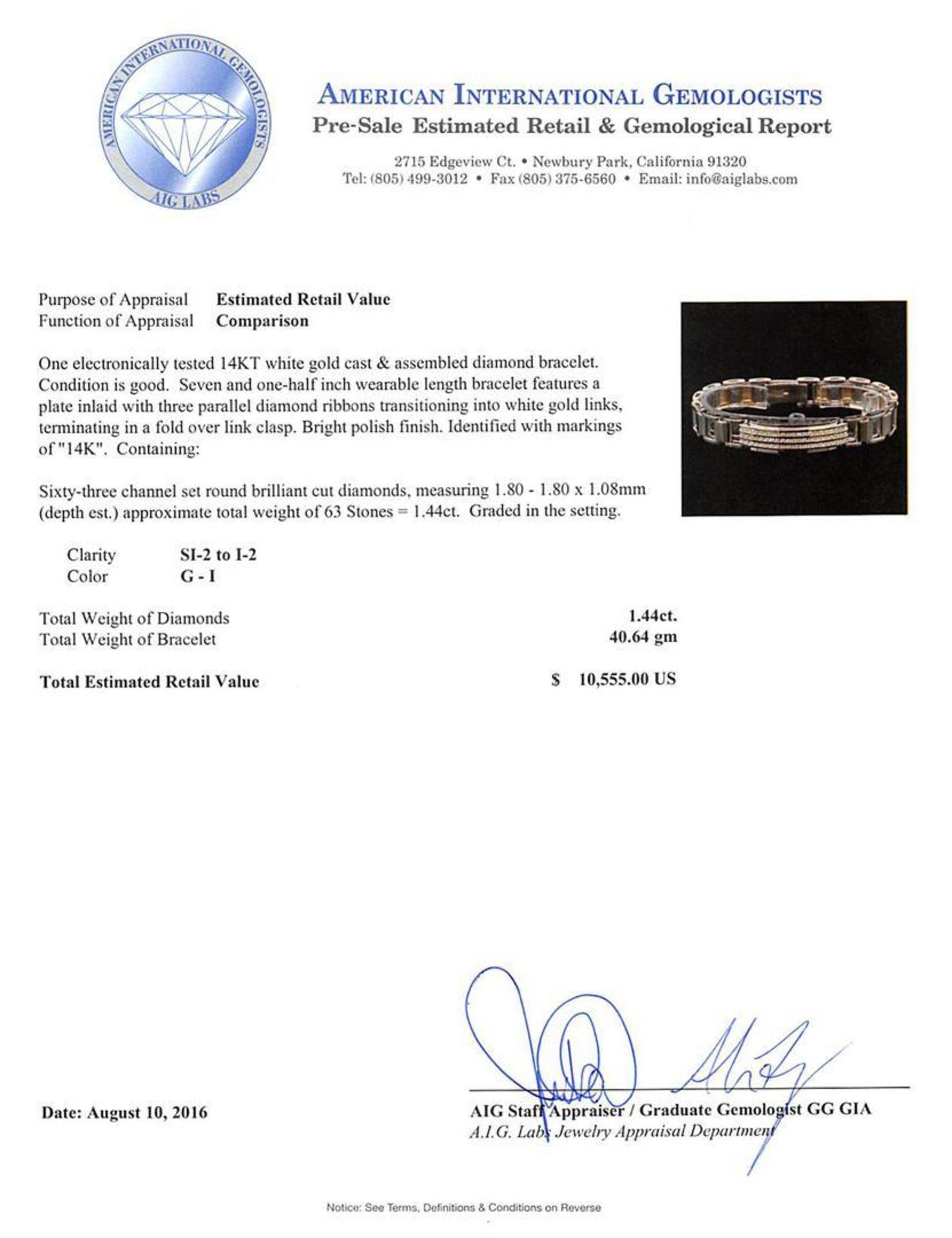 1.44 ctw Diamond Bracelet - 14KT White Gold - Image 4 of 4