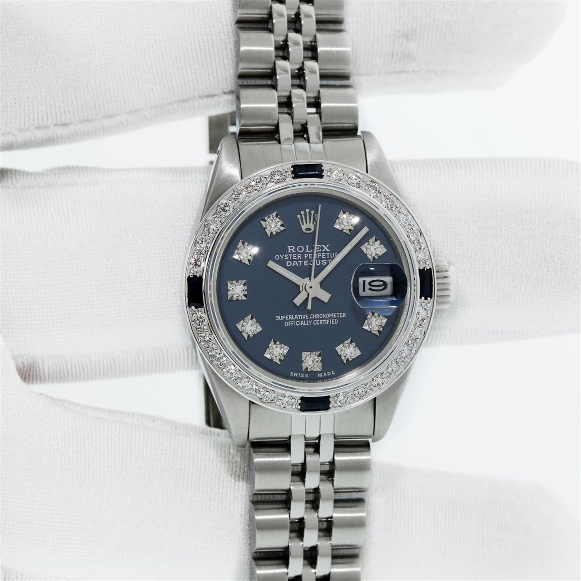 Rolex Ladies Stainless Steel Blue VVS Diamond & Sapphire Datejust Wristwatch - Image 3 of 9
