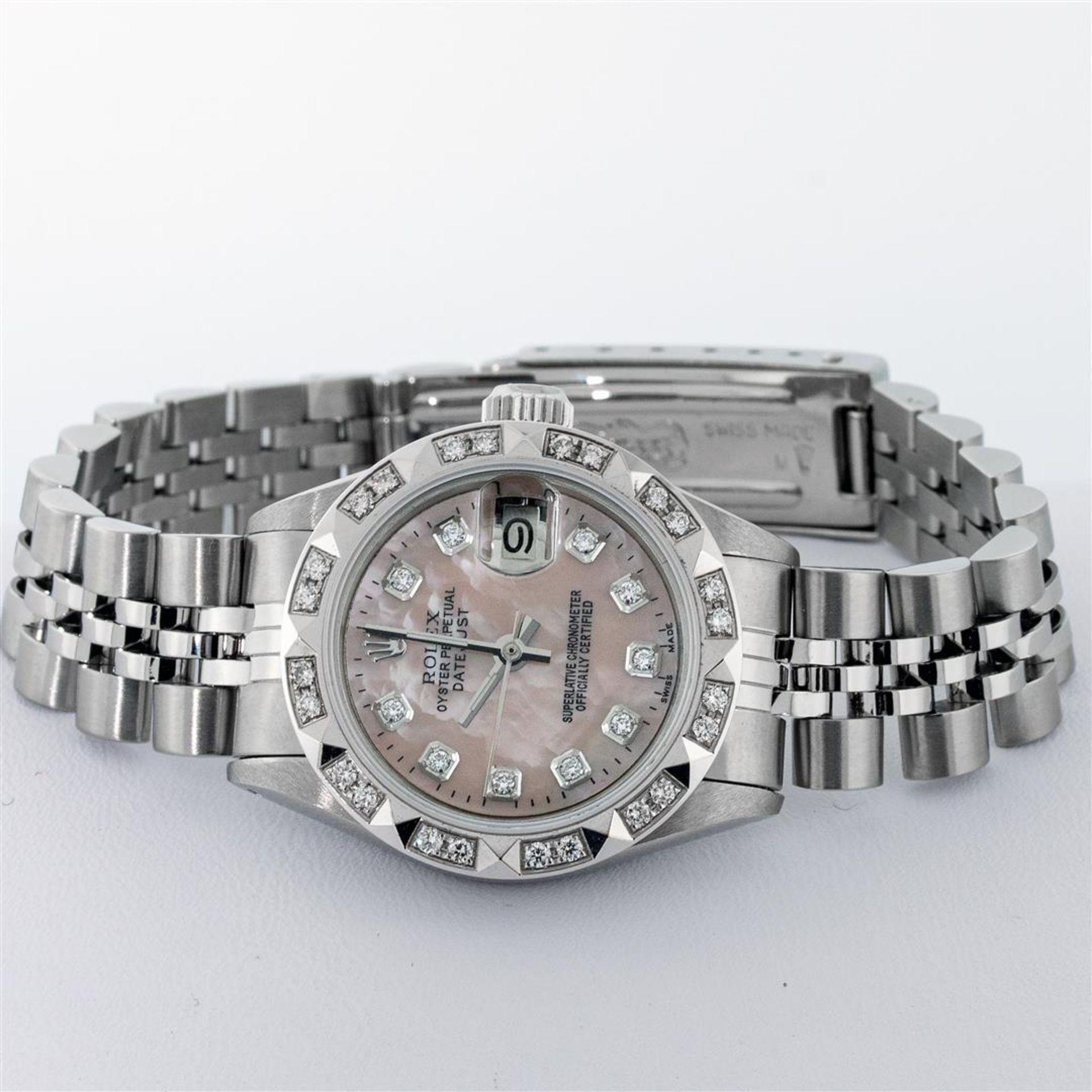 Rolex Ladies Stainless Steel Pink MOP Pyramid Diamond Datejust Wristwatch 26MM - Image 3 of 9