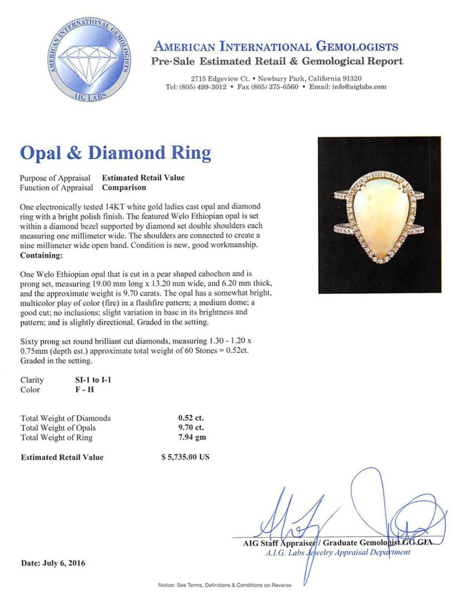 9.70 ctw Opal and Diamond Ring - 14KT White Gold - Image 5 of 5