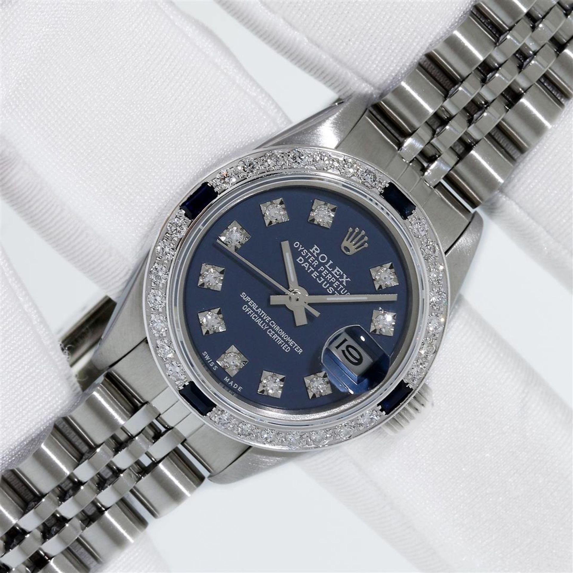 Rolex Ladies Stainless Steel Blue VVS Diamond & Sapphire Datejust Wristwatch - Image 2 of 9