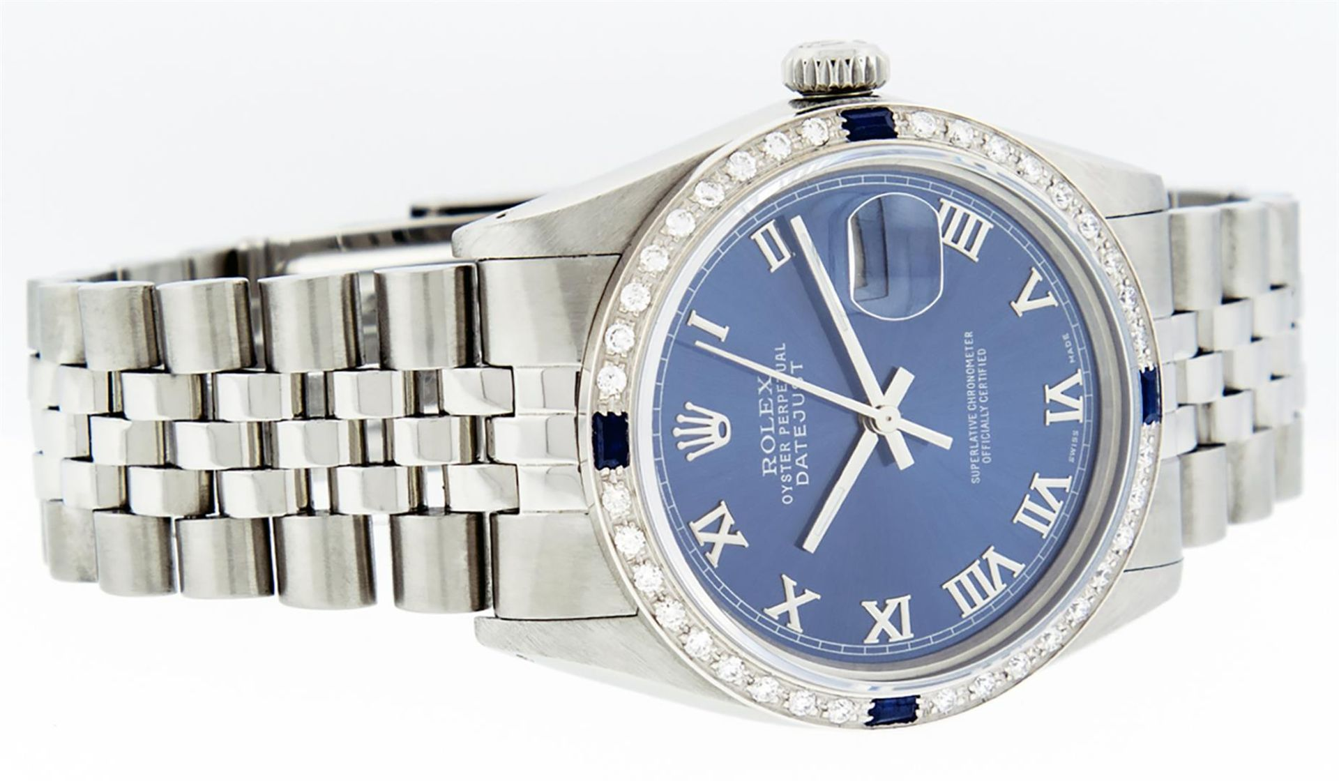 Rolex Mens Stainless Steel Blue Roman Diamond & Sapphire 36MM Oyster Perpetual D - Image 6 of 9