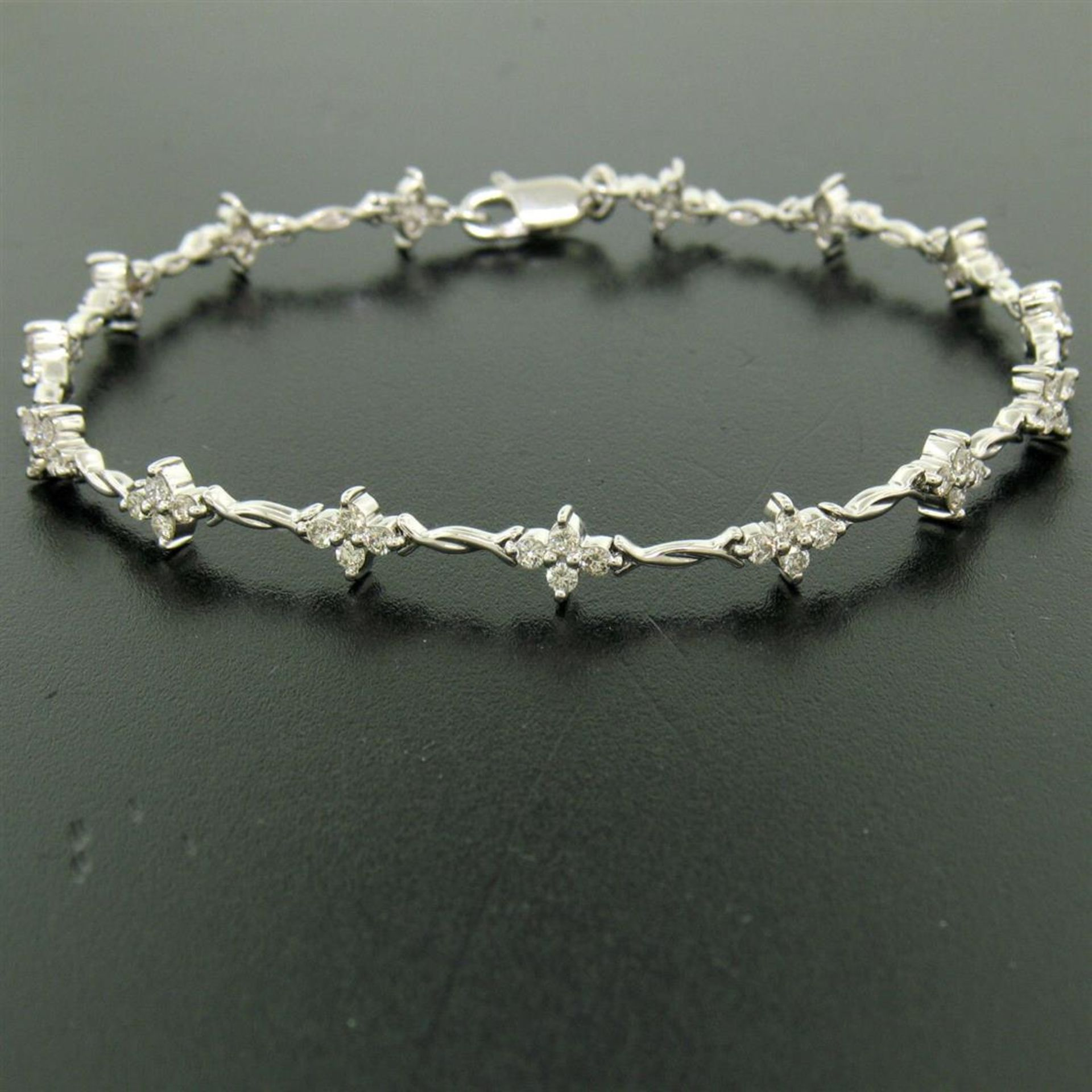 18K White Gold 1.65ctw Diamond Flower Cluster Twisted Wire Link Tennis Bracelet - Image 5 of 6