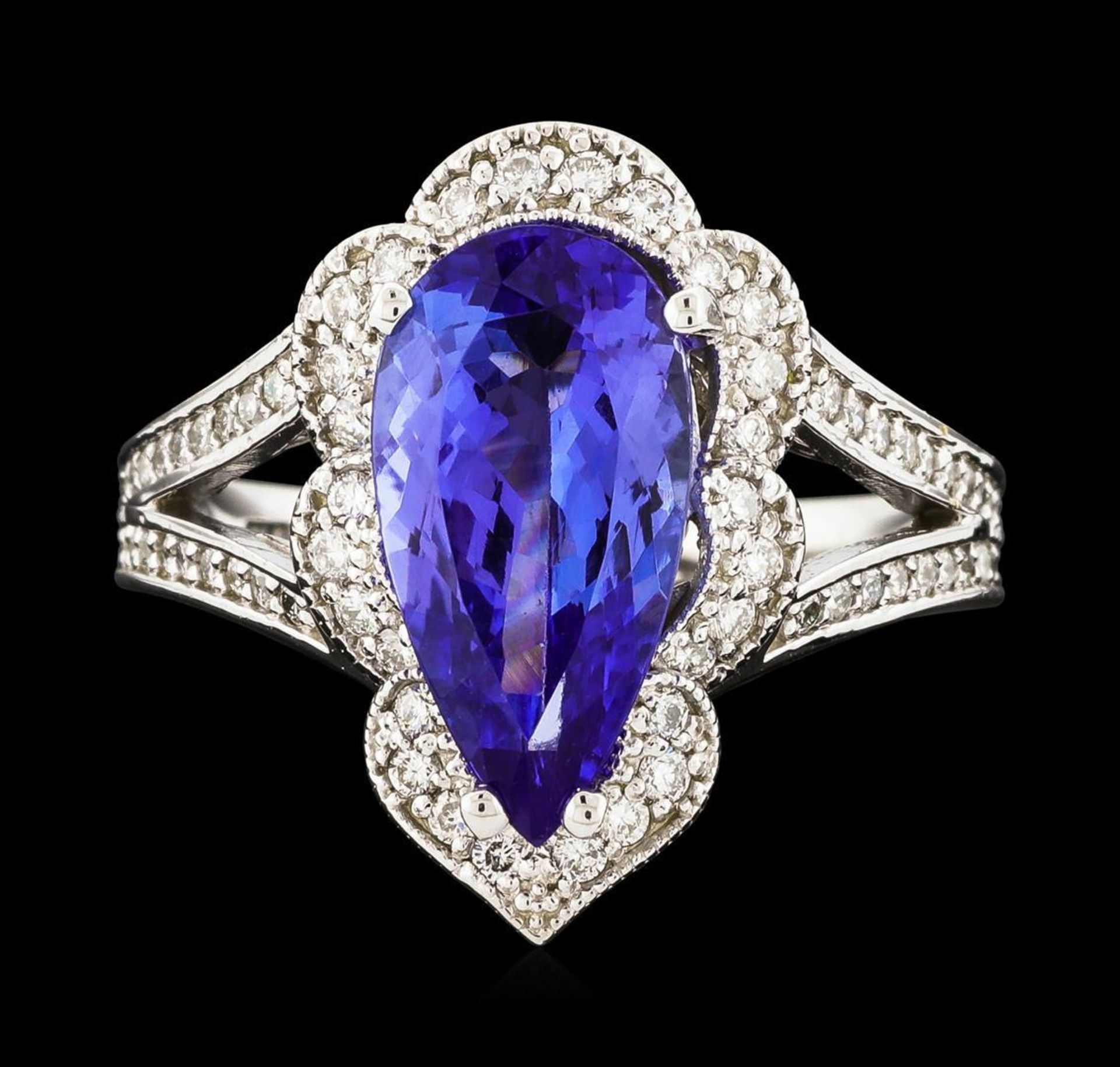 3.40 ctw Tanzanite and Diamond Ring - 14KT White Gold - Image 2 of 5