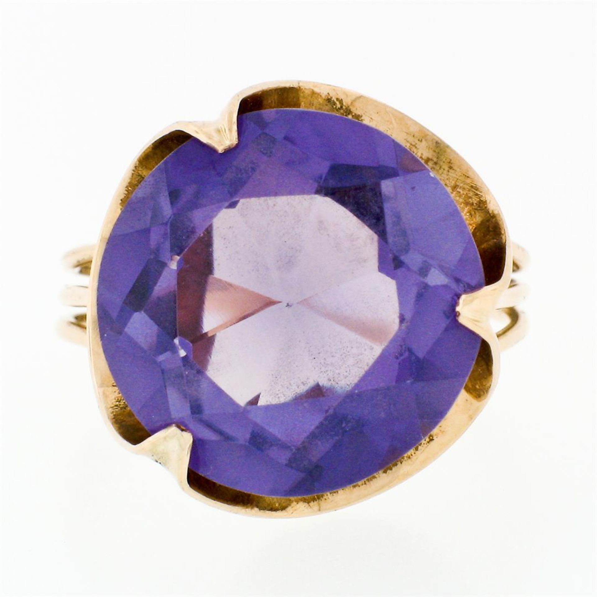 Retro Vintage Handmade 14k Rose Gold 13.7mm Synthetic Alexandrite Solitaire Ring - Image 4 of 8