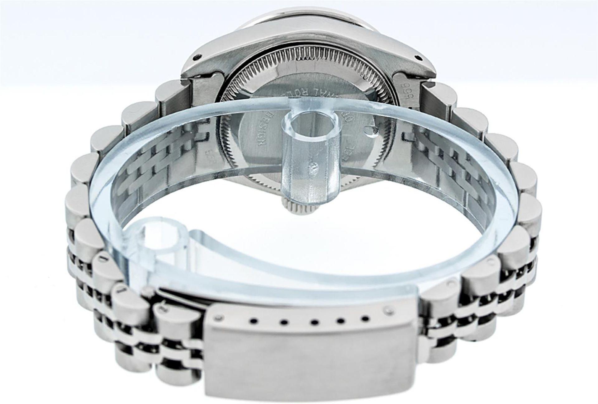 Rolex Ladies Stainless Steel 26MM Orange String Diamond Lugs Datejust Wristwatch - Image 8 of 9