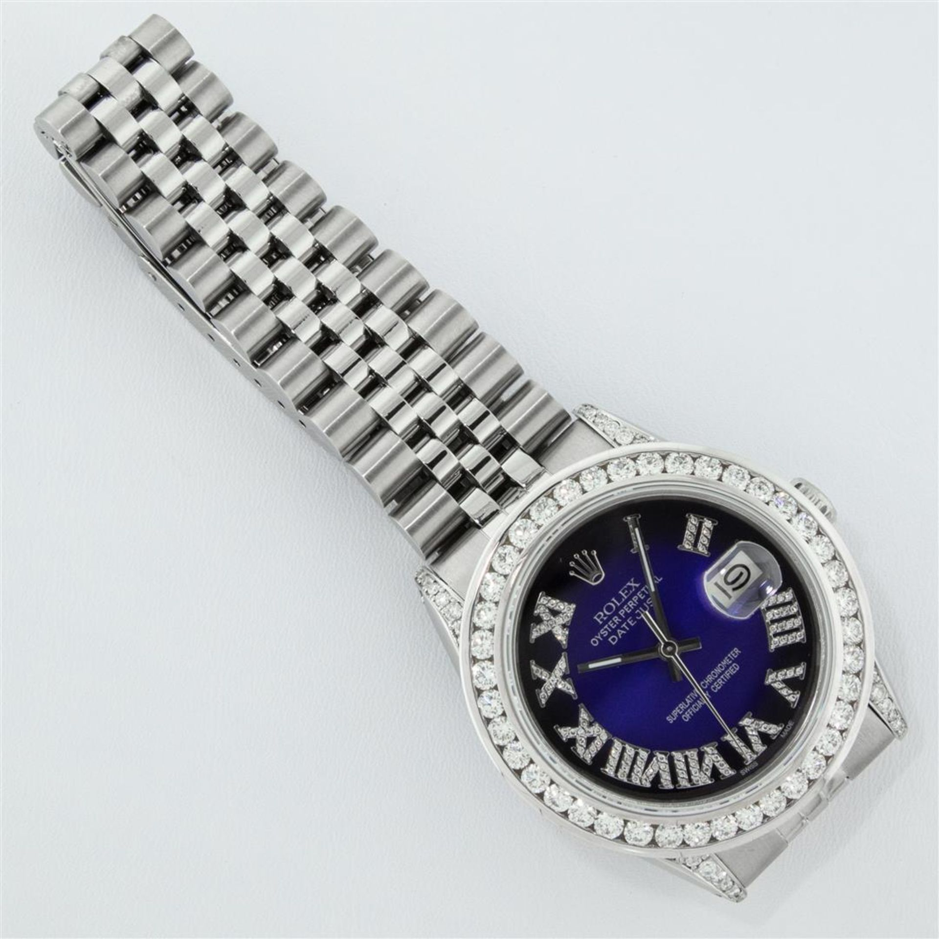 Rolex Mens Stainless Steel Blue Vignette Roman 3ctw Diamond Datejust Wristwatch - Image 6 of 9