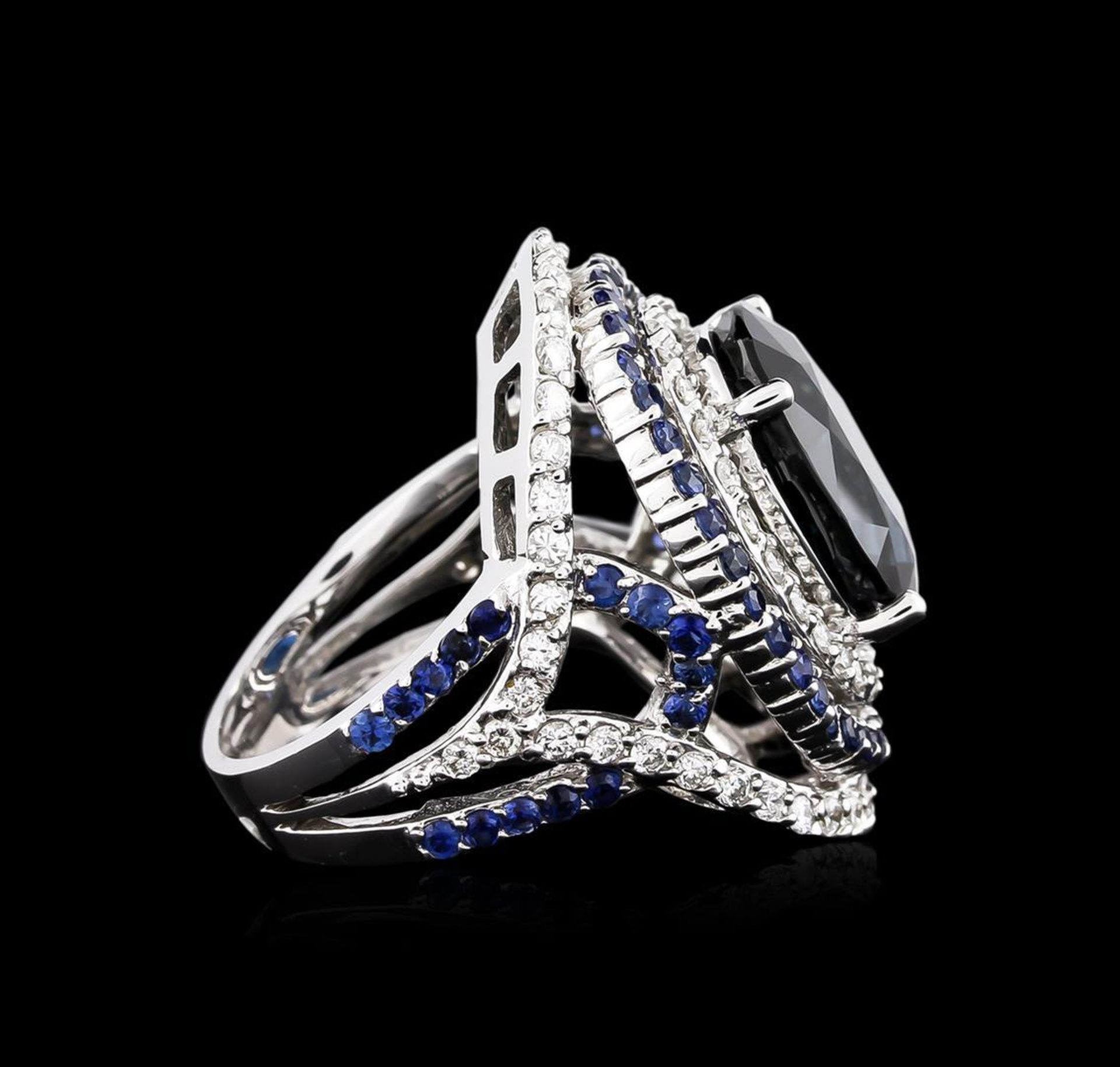 14.21 ctw Sapphire and Diamond Ring - 18KT White Gold GIA Certified - Image 3 of 5