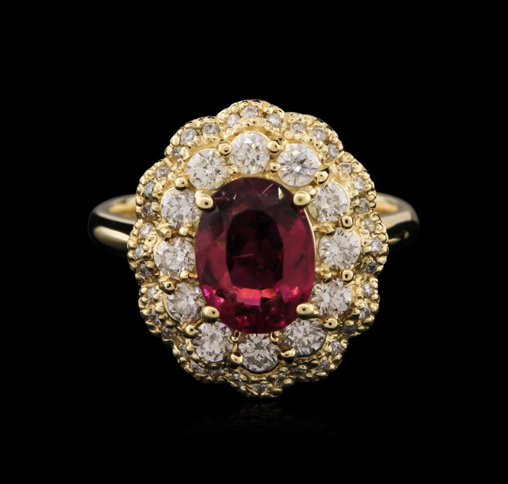 14KT Yellow Gold 1.77 ctw Tourmaline and Diamond Ring - Image 2 of 3