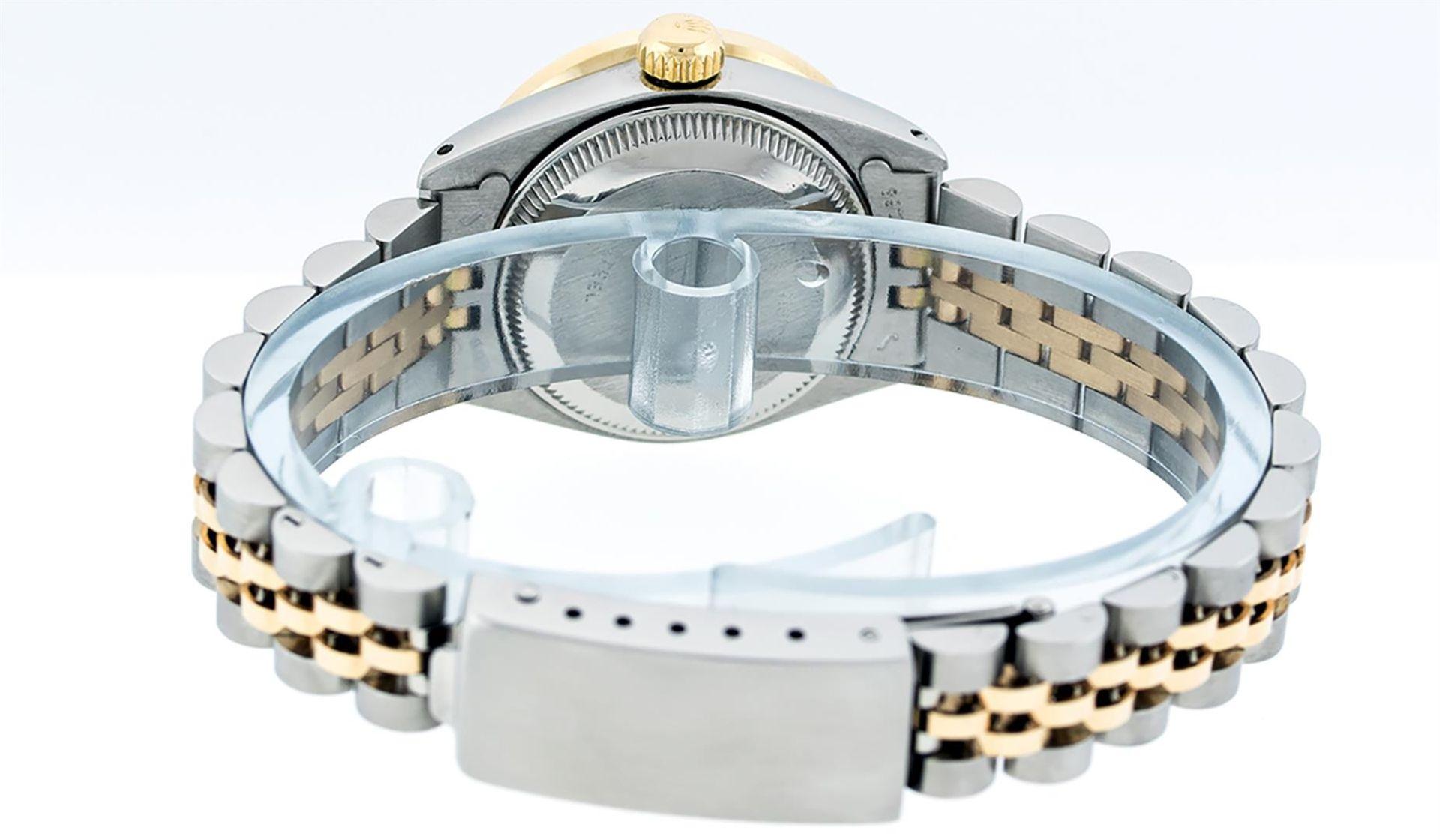 Rolex Ladies 26 2T Pink MOP Baguette 18K YG Diamond Bezel Serviced And Polished - Image 9 of 9