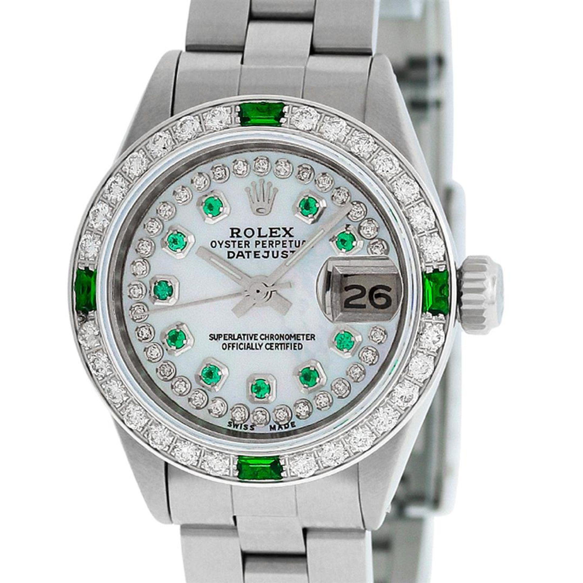 Rolex Ladies Stainless Steel MOP Emerald & Diamond Oyster Perpetaul Datejust Wri - Image 4 of 9
