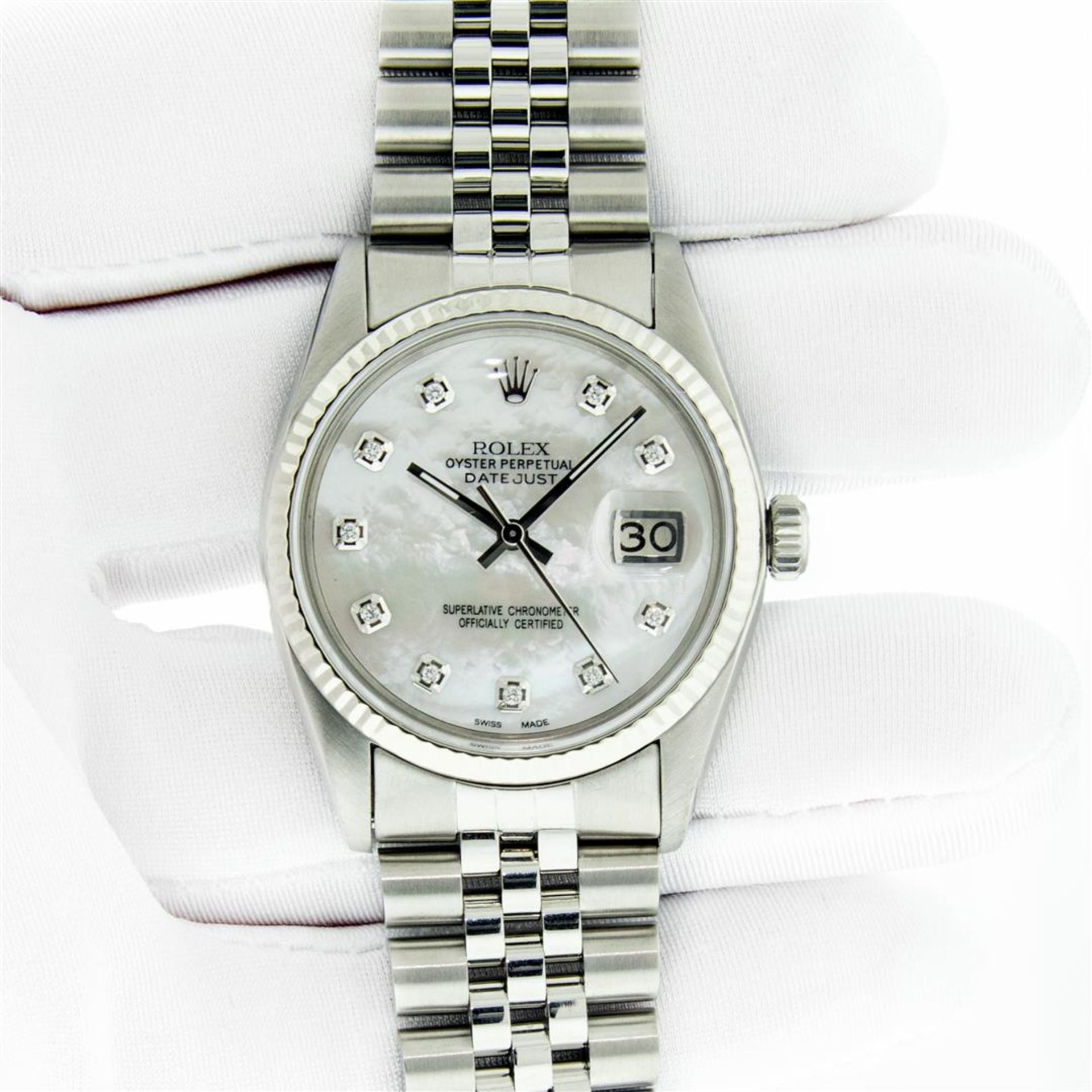 Rolex Mens Stainless Mother Of Pearl Diamond 36MM Datejust Wristwatch With Rolex - Image 3 of 9