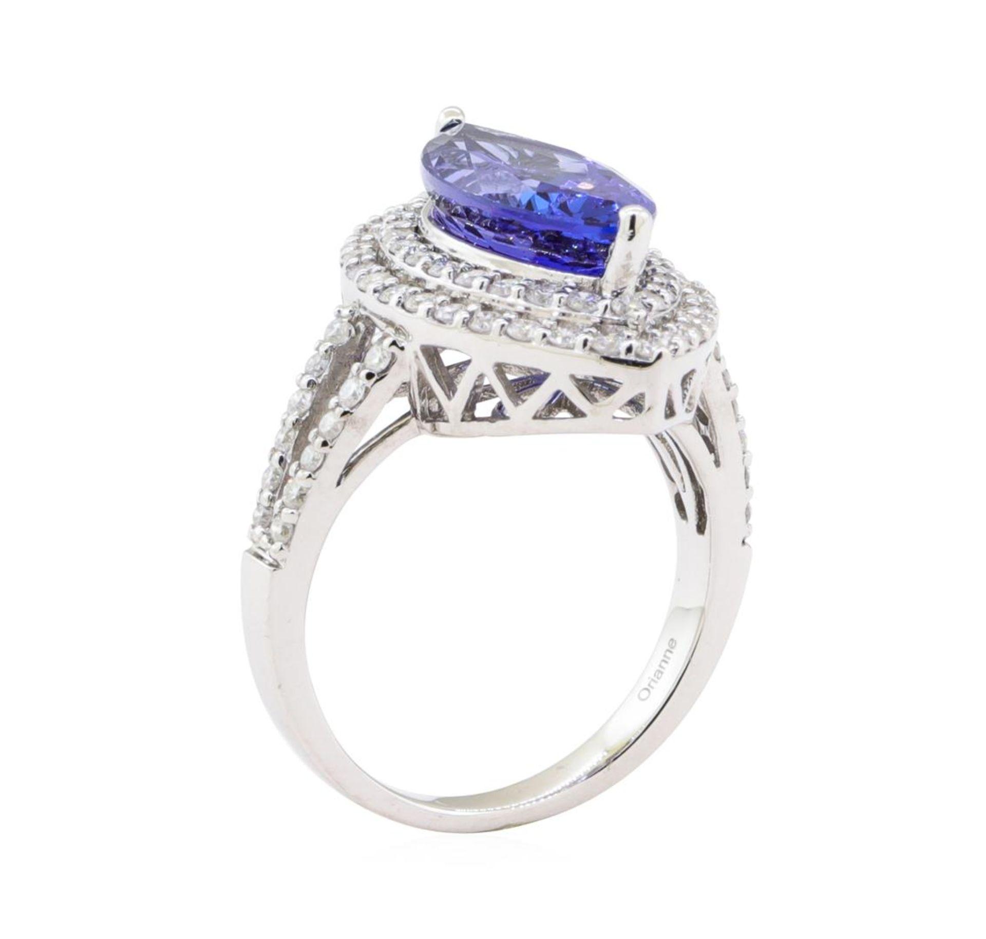 4.17ct Tanzanite and Diamond Ring - 14KT White Gold - Image 4 of 4