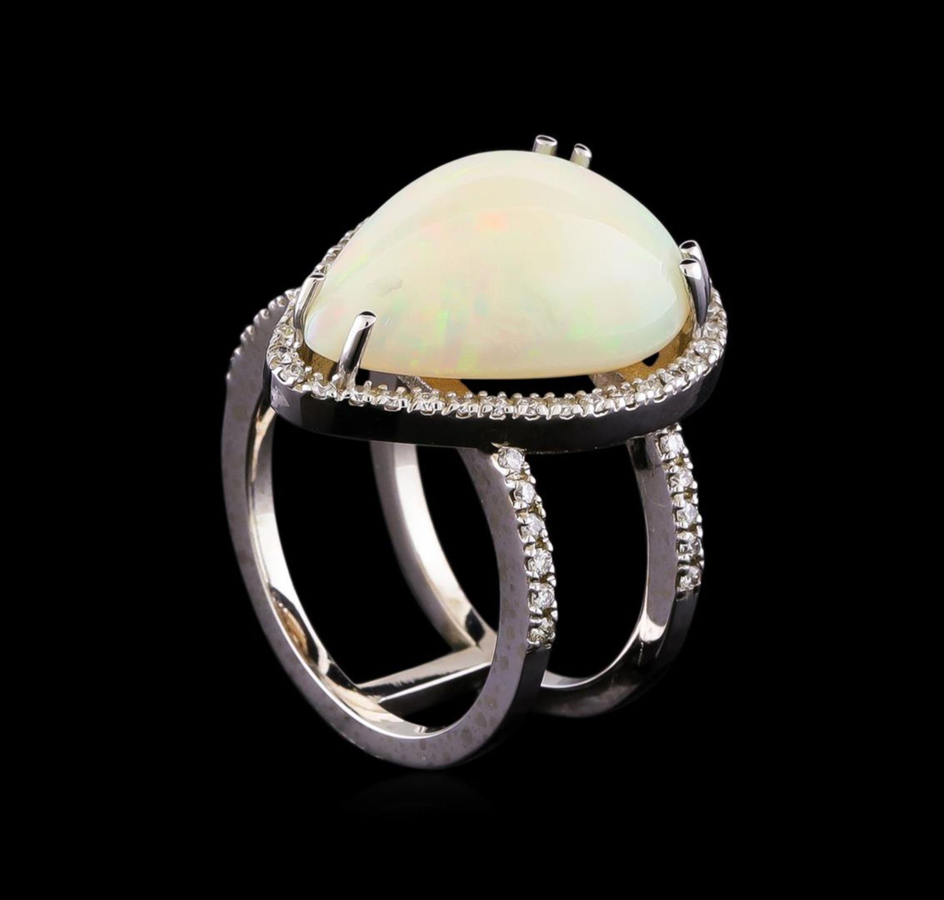 9.70 ctw Opal and Diamond Ring - 14KT White Gold - Image 4 of 5