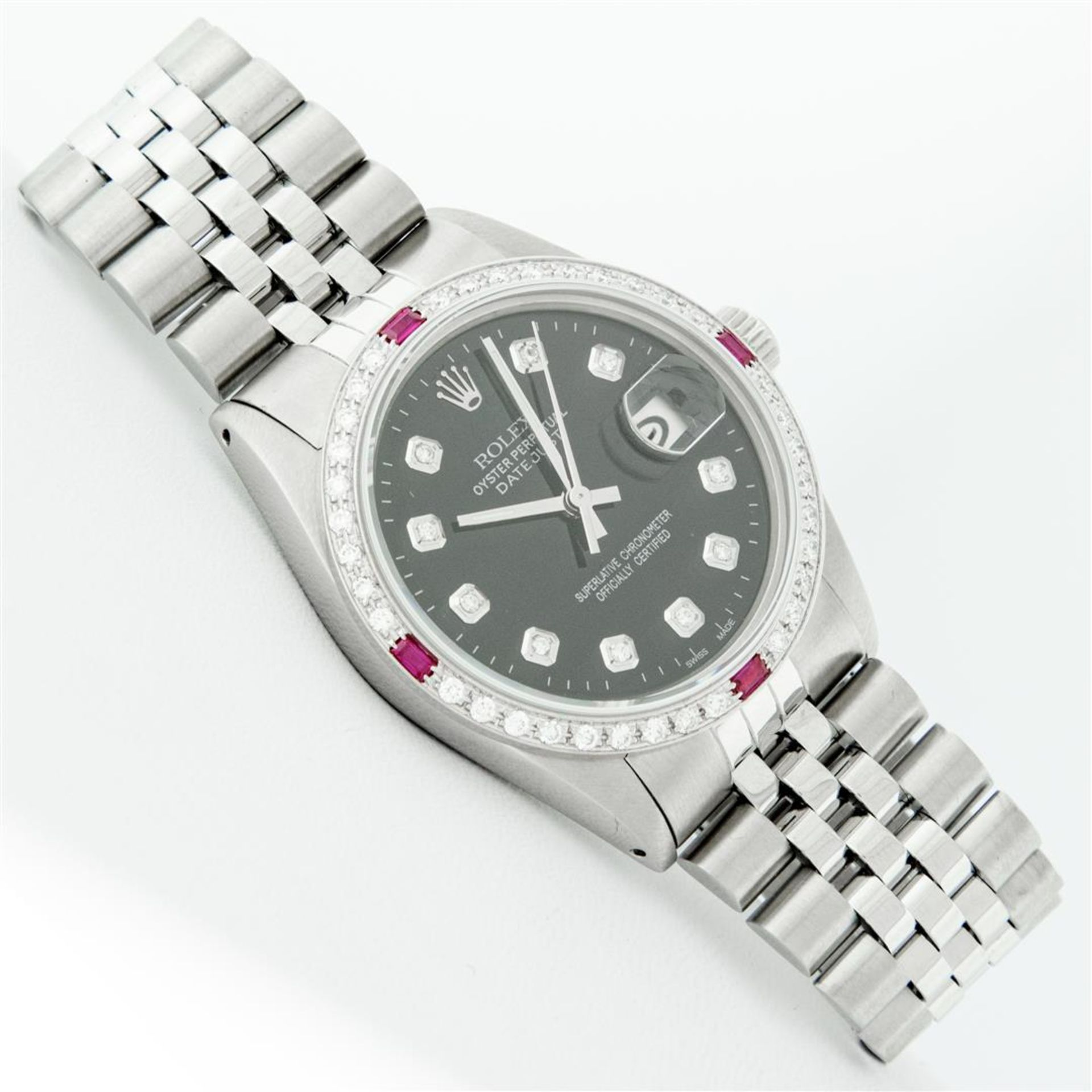 Rolex Mens Stainless Steel Black Diamond & Ruby 36MM Datejust Wristwatch Oyster - Image 3 of 9