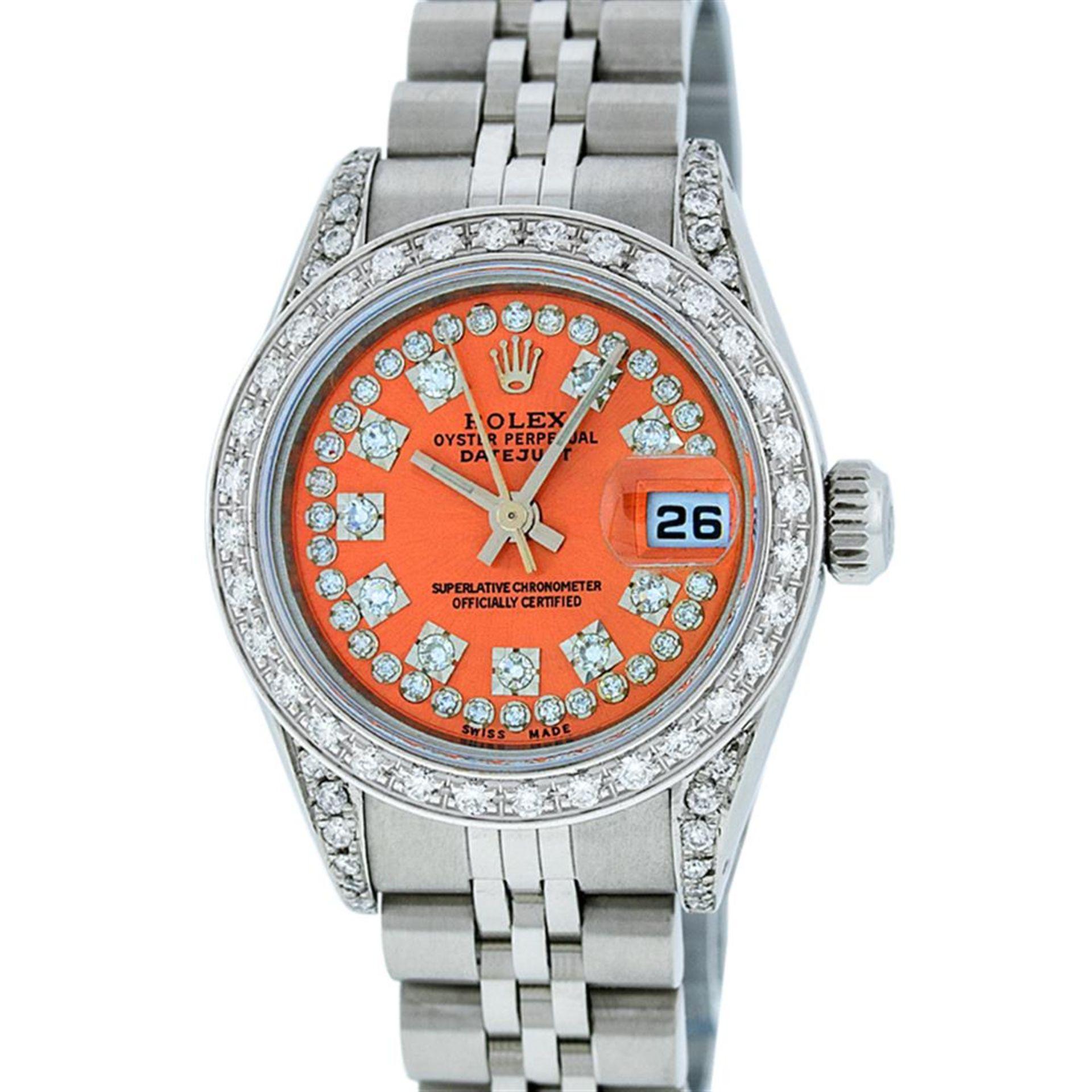 Rolex Ladies Stainless Steel 26MM Orange String Diamond Lugs Datejust Wristwatch - Image 2 of 9