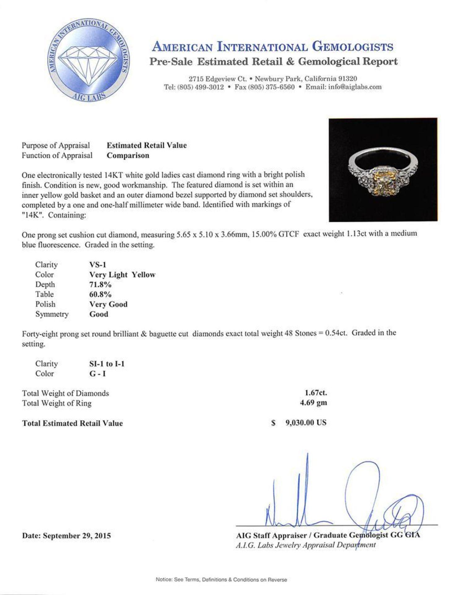 1.67 ctw Light Yellow Diamond Ring - 14KT White Gold - Image 3 of 3