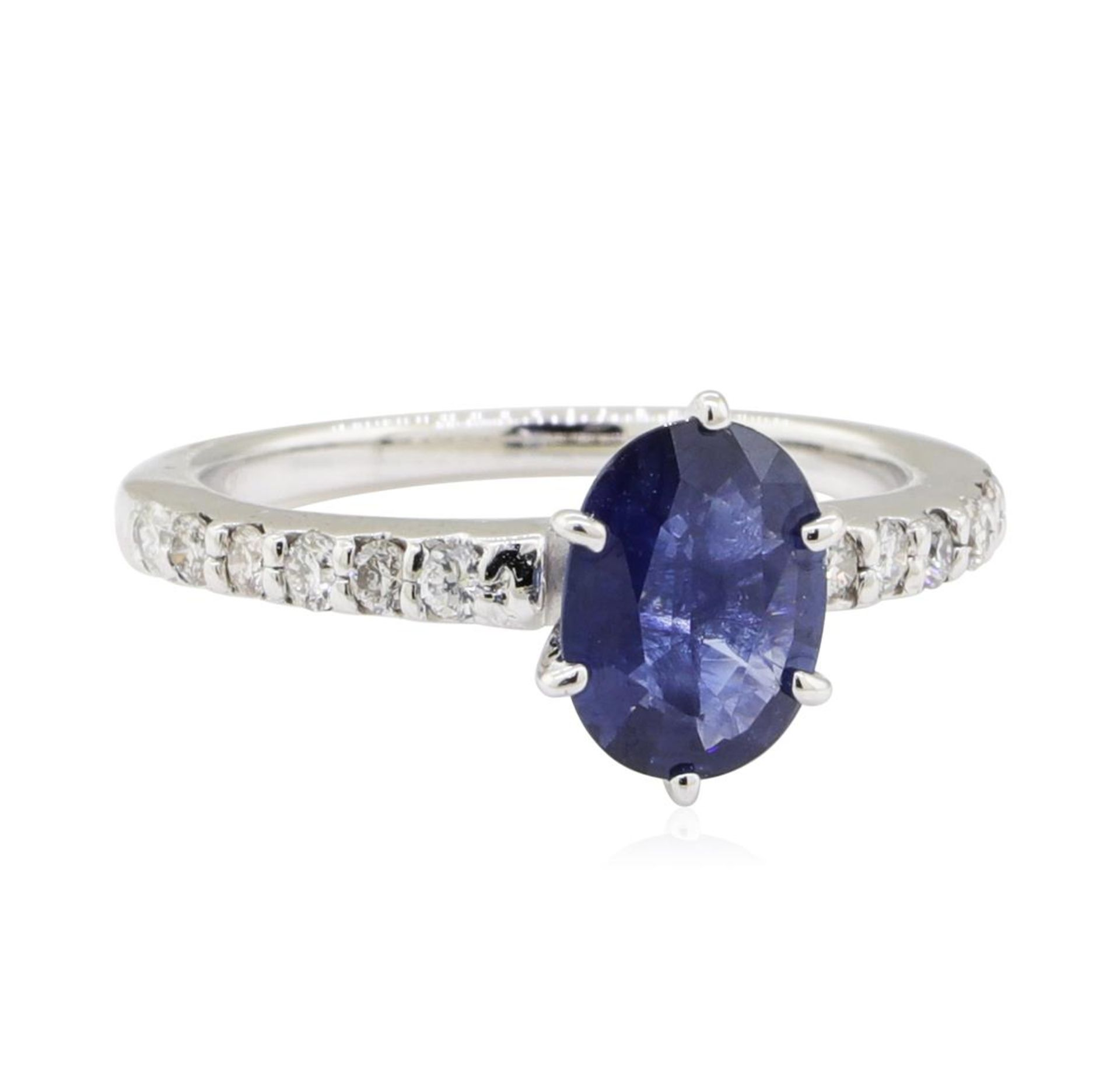 1.25ctw Sapphire and Diamond Ring - 14KT White Gold
