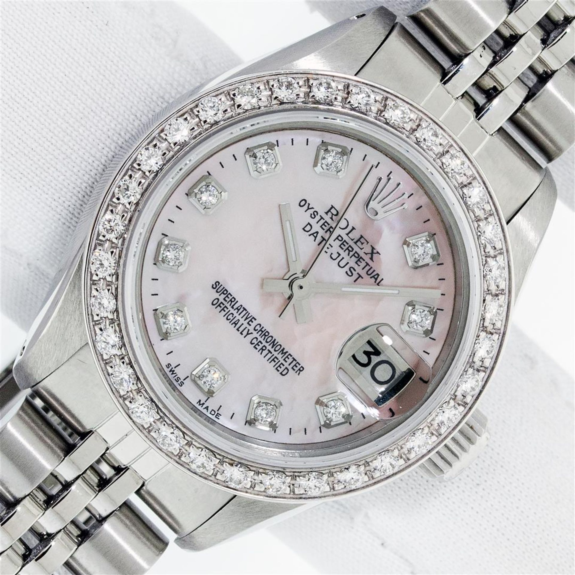 Rolex Ladies Stainless Steel Pink MOP Diamond 26MM Oyster Perpetaul Datejust Wit
