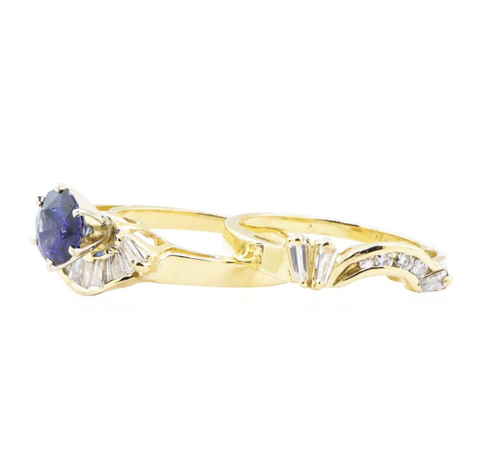 1.83 ctw Sapphire And Diamond Ring And Band - 14KT Yellow Gold - Image 3 of 4
