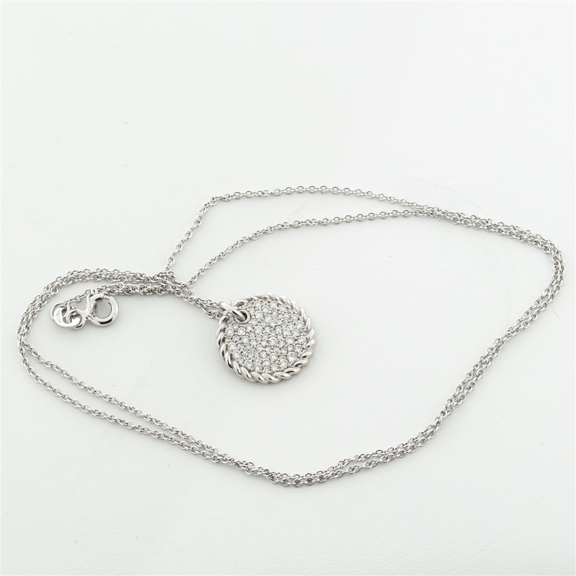 New 18k White Gold Diamond Cable Pendant with with 18K White Gold Chain - Image 3 of 7