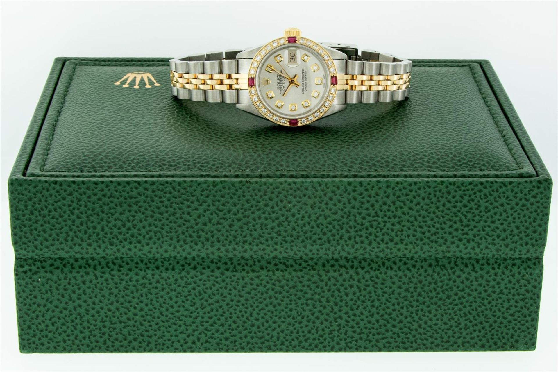 Rolex Ladies 2 Tone Silver Diamond & Ruby Oyster Perpetual Datejust Wristwatch - Image 5 of 9