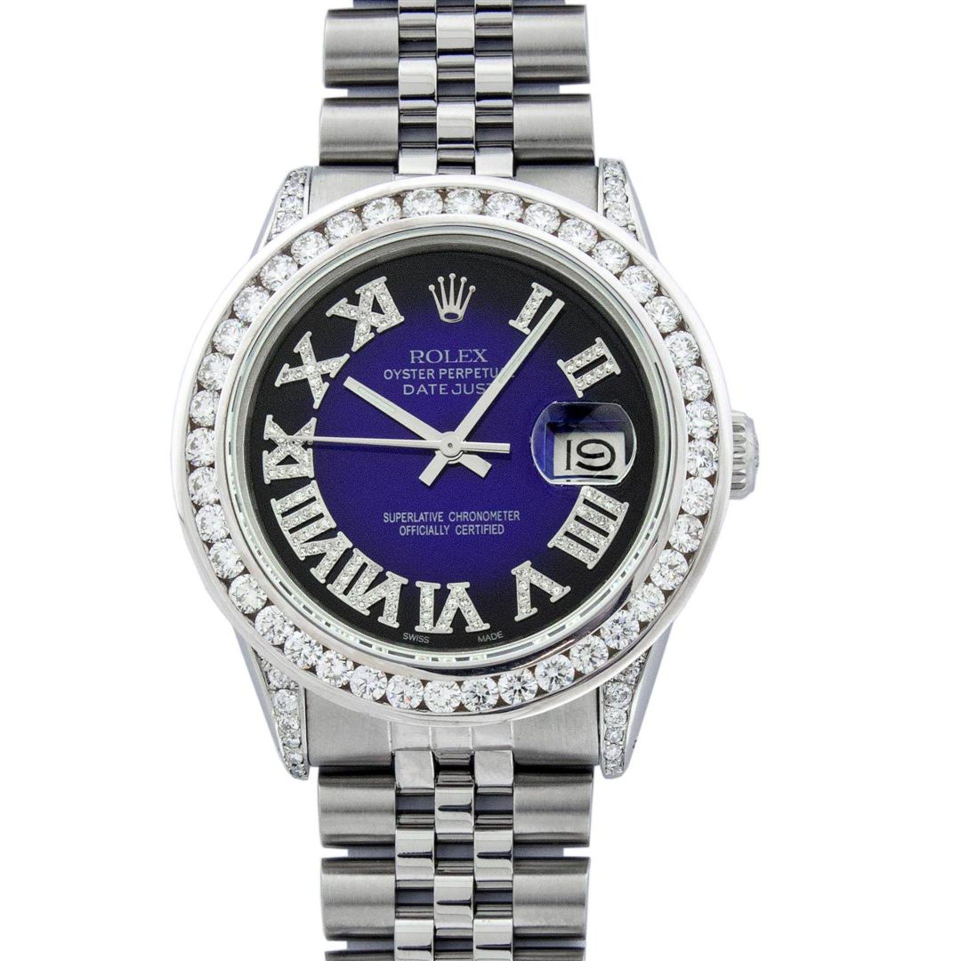 Rolex Mens Stainless Steel Blue Vignette Roman 3ctw Diamond Datejust Wristwatch - Image 2 of 9