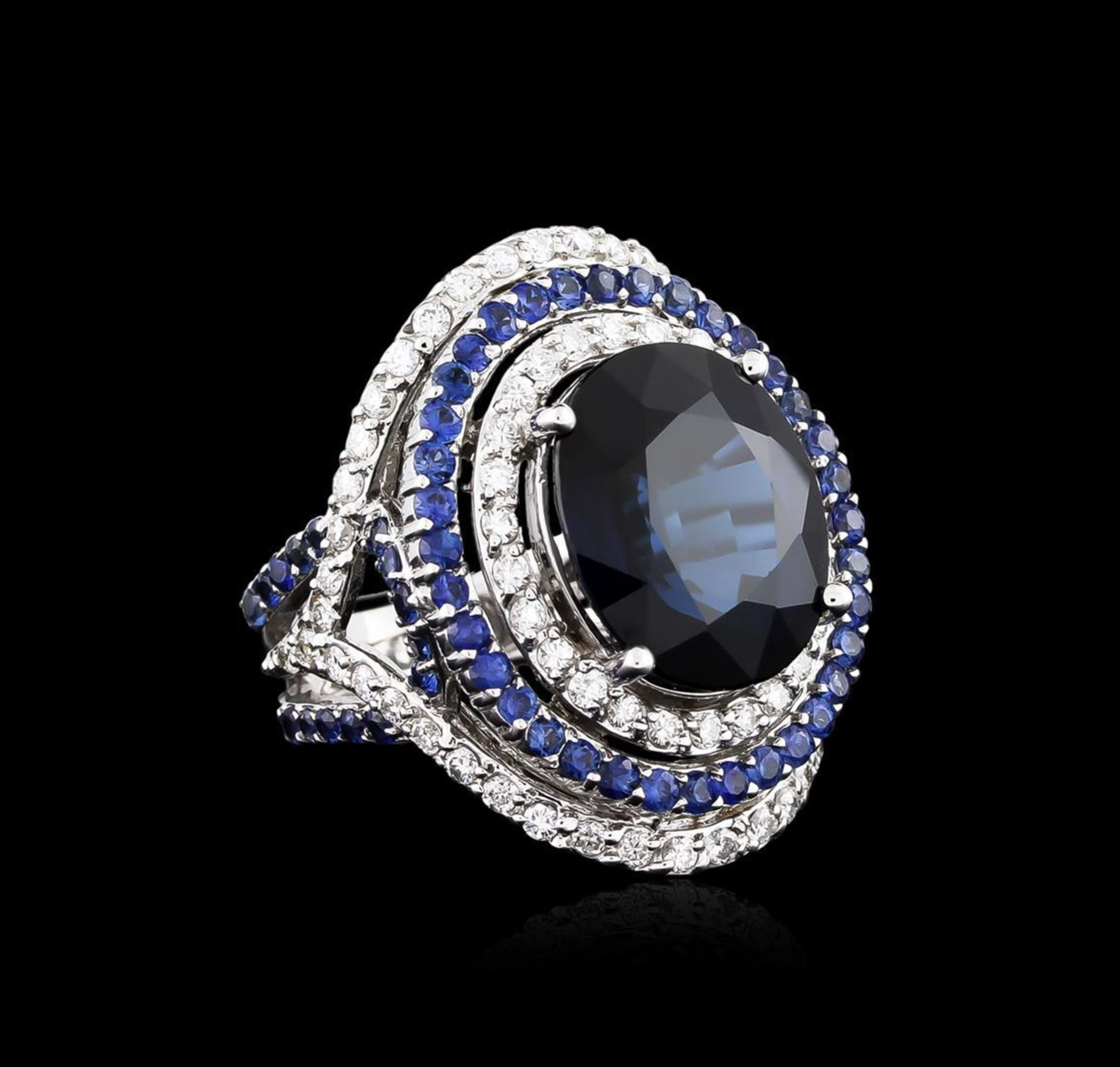 14.21 ctw Sapphire and Diamond Ring - 18KT White Gold GIA Certified - Image 2 of 5