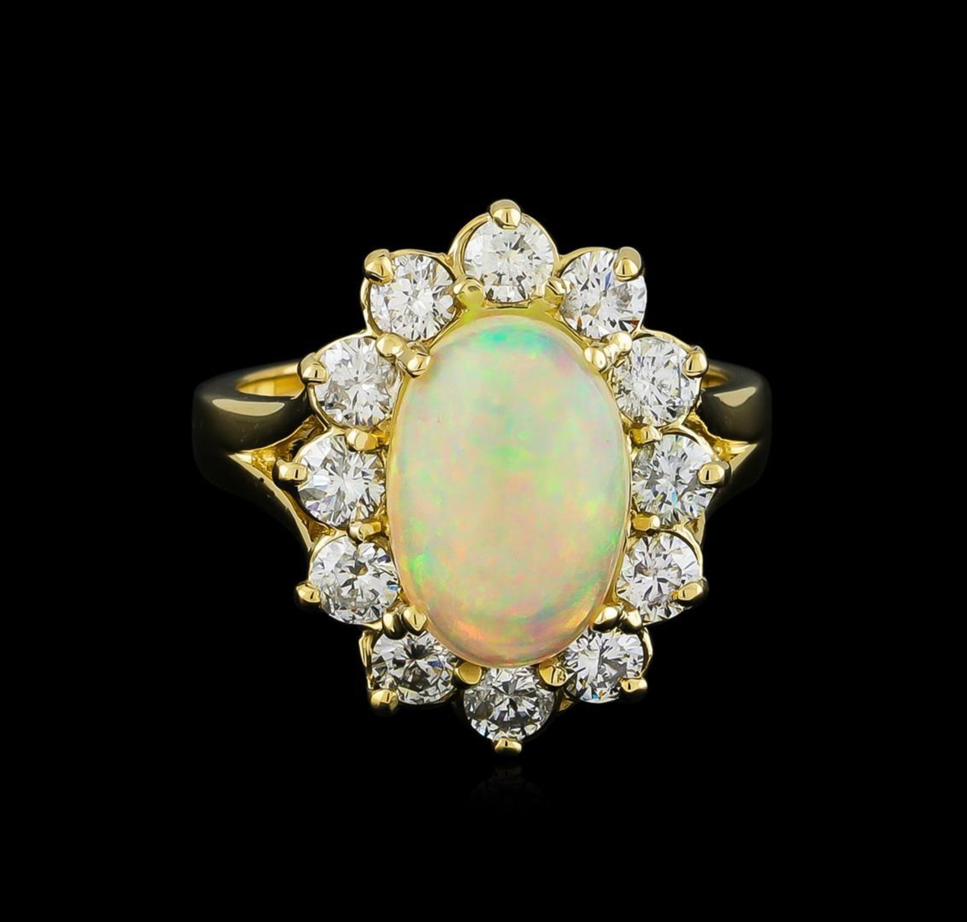 2.56 ctw Opal and Diamond Ring - 14KT Yellow Gold - Image 2 of 5