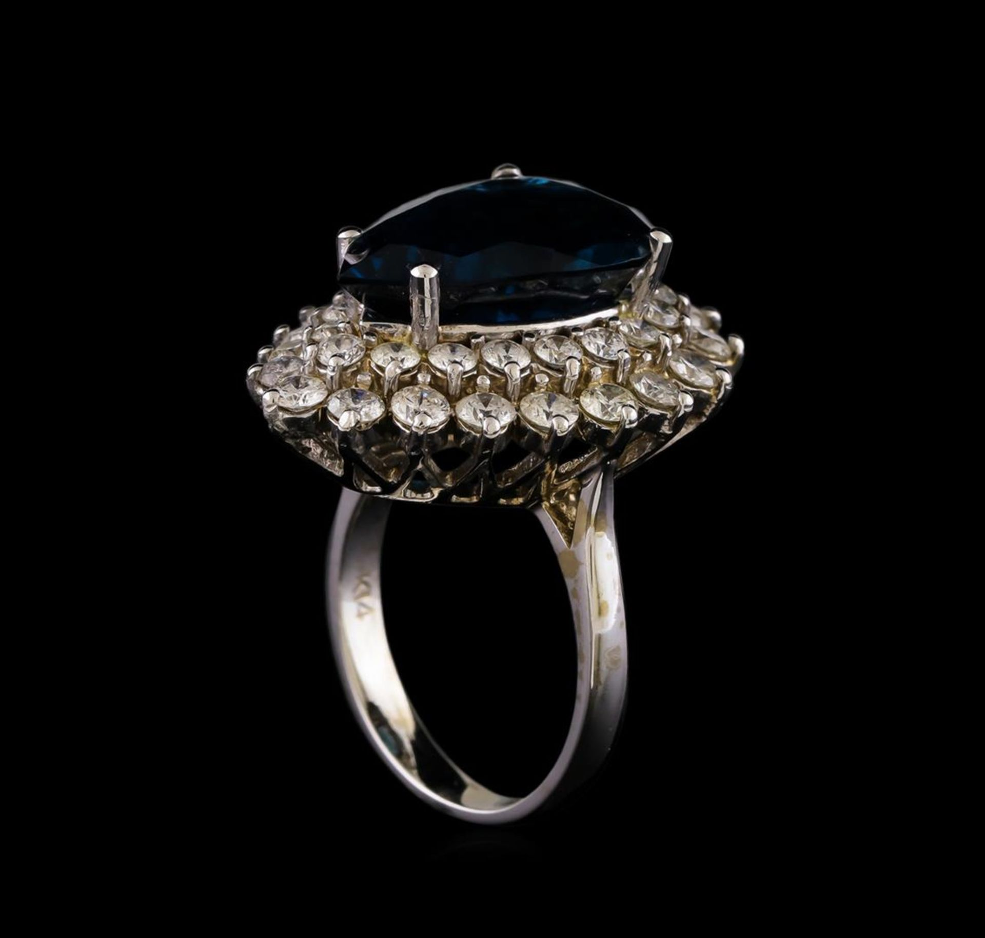 14KT White Gold 12.42 ctw Topaz and Diamond Ring - Image 4 of 5