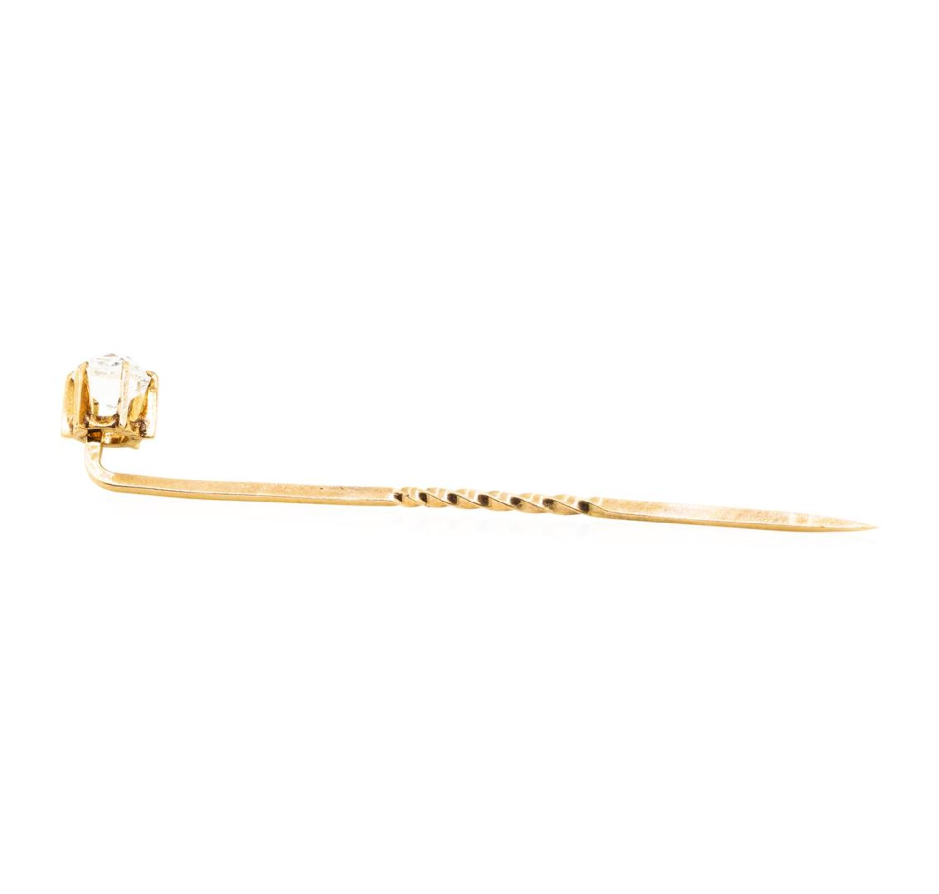 White Crystal Stick Pin - 10KT Yellow - Image 2 of 2